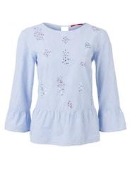 S.Oliver,S.Oliver RED LABEL,s.Oliver Damen Volant-Bluse mit Pailletten blau,weiß | 04059502848487