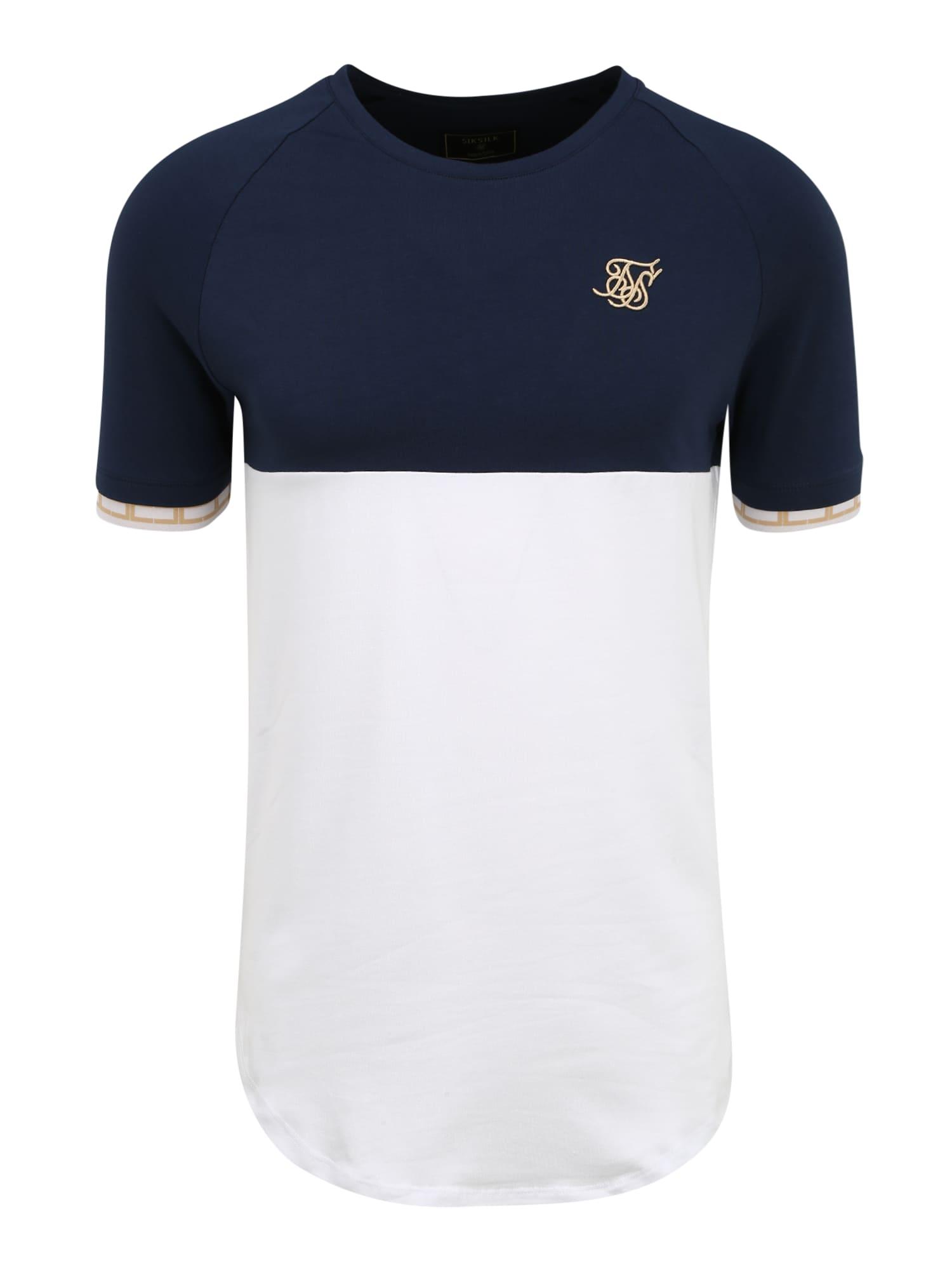 SikSilk Tričko  biela / námornícka modrá