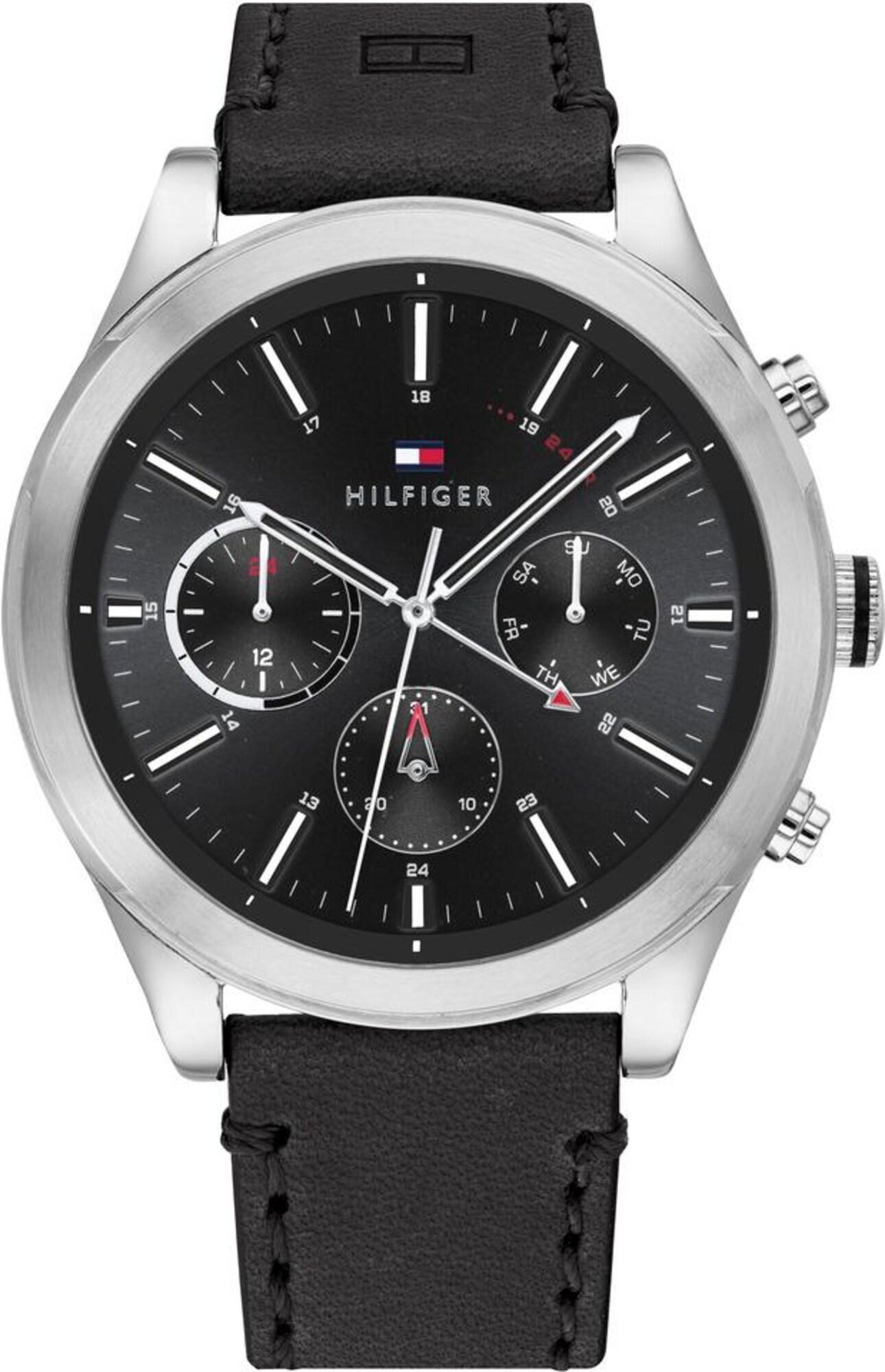 TOMMY HILFIGER Analoginis (įprasto dizaino) laikrodis juoda / sidabrinė