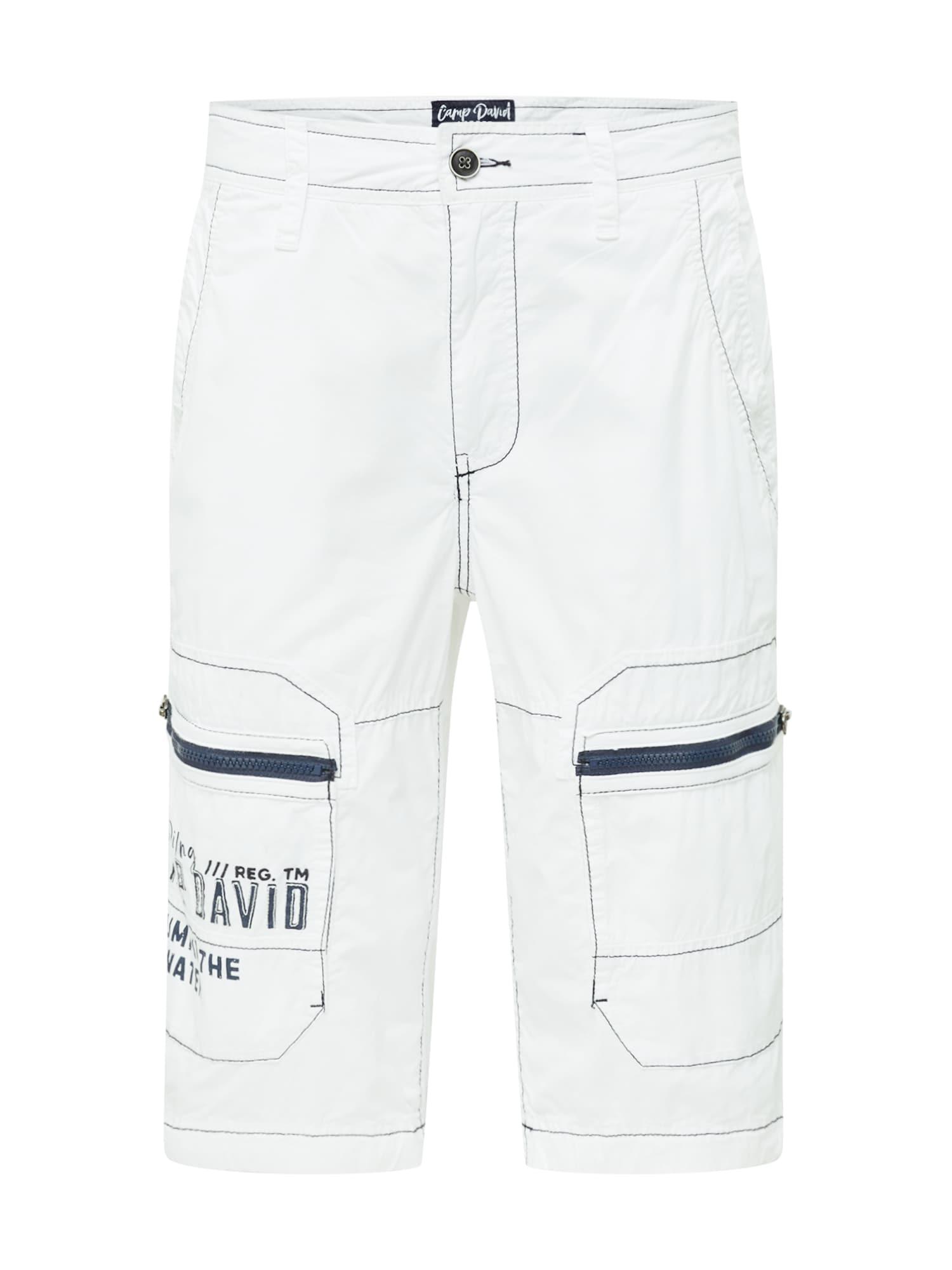 CAMP DAVID Laisvo stiliaus kelnės balta / tamsiai mėlyna