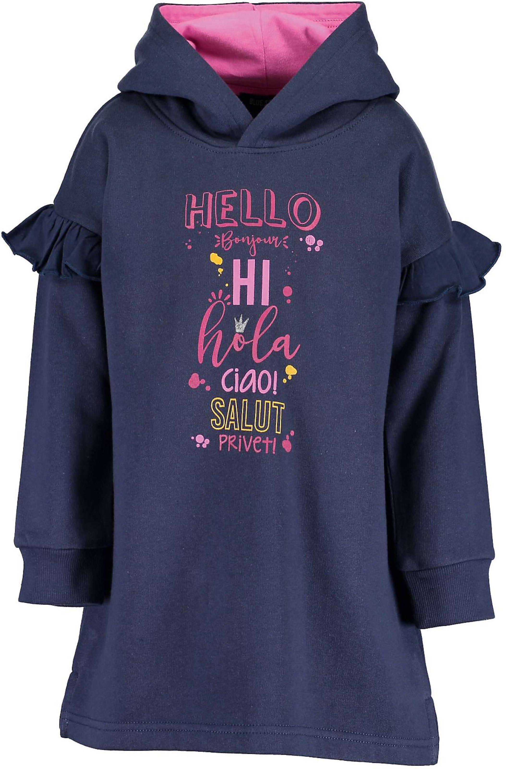 Kinder,  Mädchen,  Kinder BLUE SEVEN Sweatkleid blau, grün,  olive, orange,  pink | 04055852715288