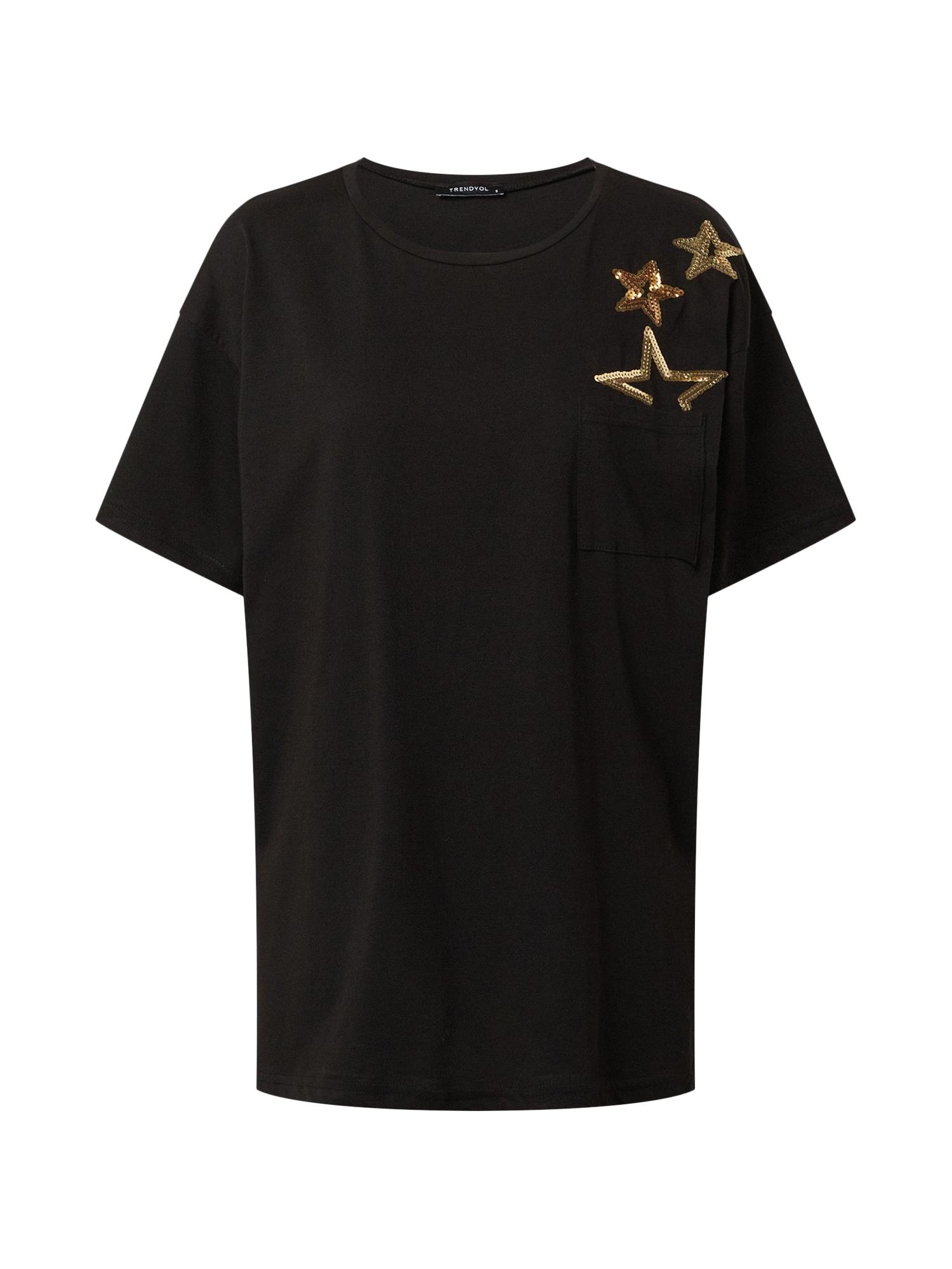 Trendyol Marškinėliai juoda / geltona