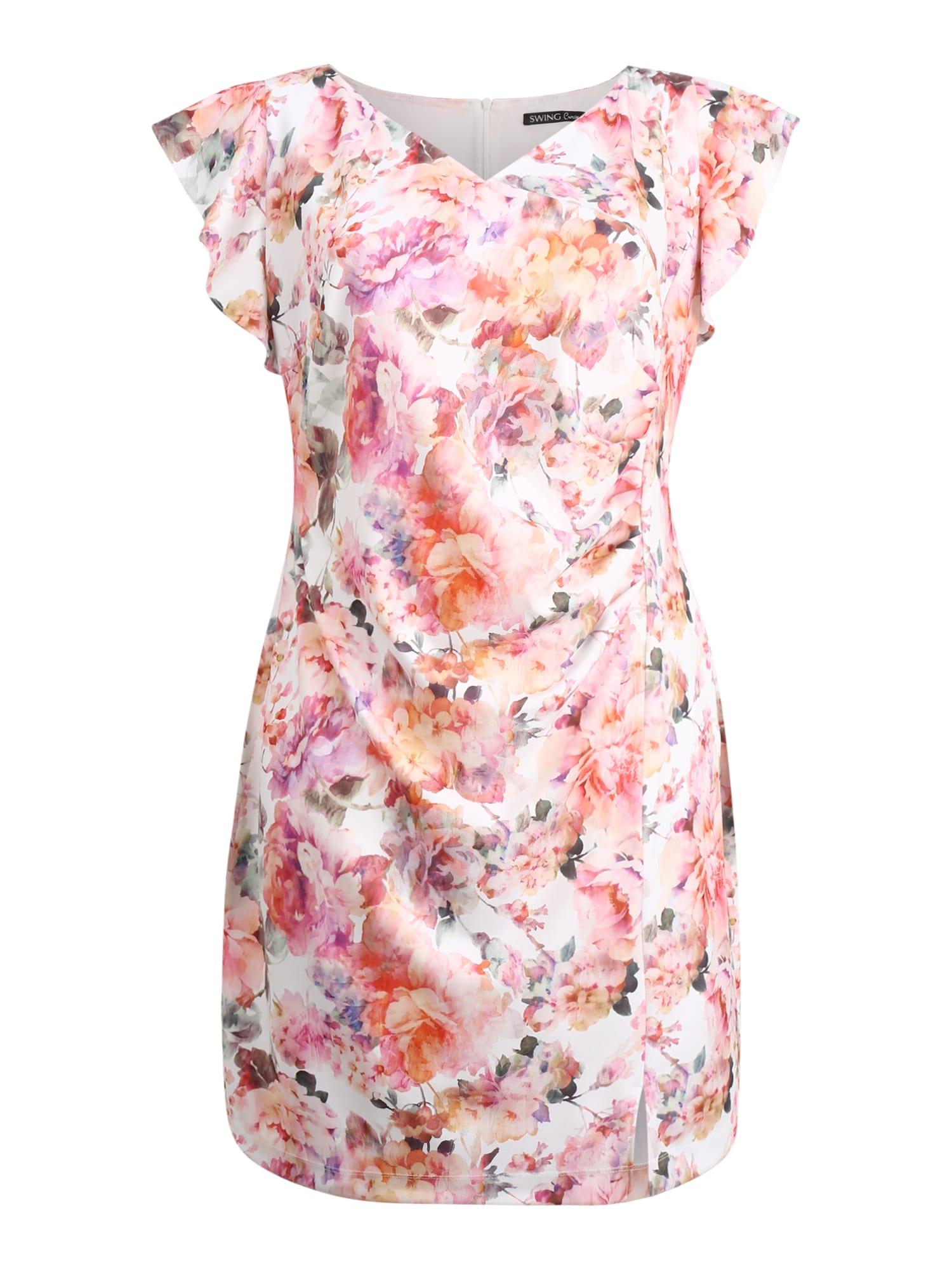 SWING Curve Trumpa kokteilinė suknelė rožių spalva / kremo
