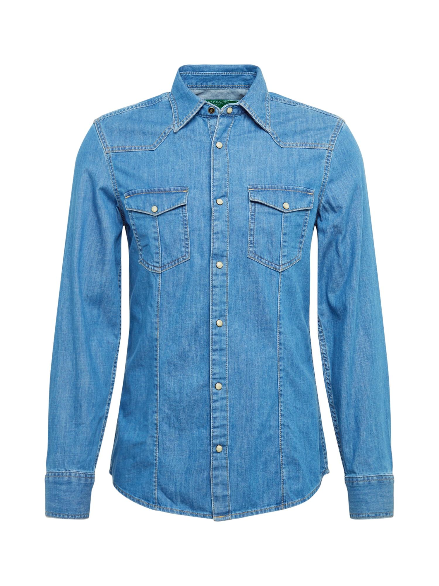 UNITED COLORS OF BENETTON Dalykiniai marškiniai tamsiai (džinso) mėlyna