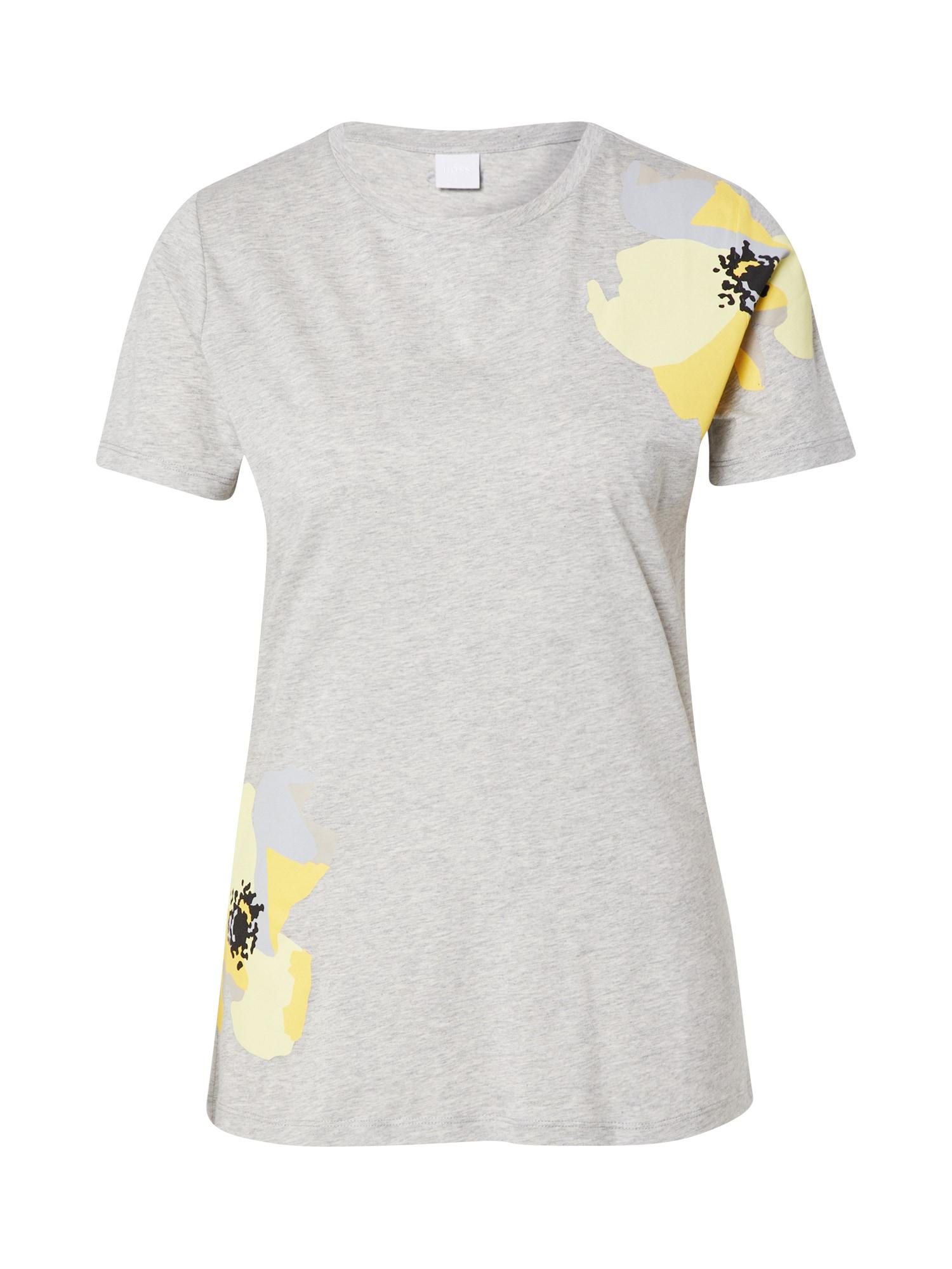 BOSS Marškinėliai 'Tebloom' sidabras / pilka / šviesiai geltona