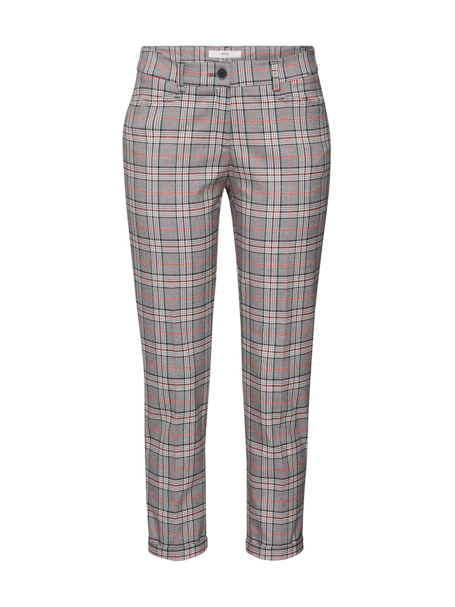 BRAX Chino stiliaus kelnės 'MARON' pilka / balta / oranžinė-raudona / kaštoninė spalva