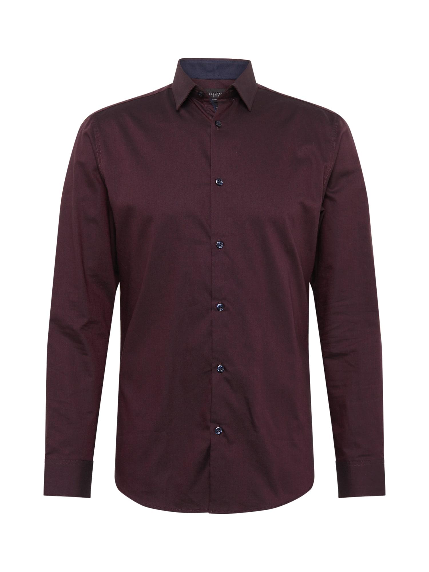 SELECTED HOMME Dalykinio stiliaus marškiniai burgundiško vyno spalva