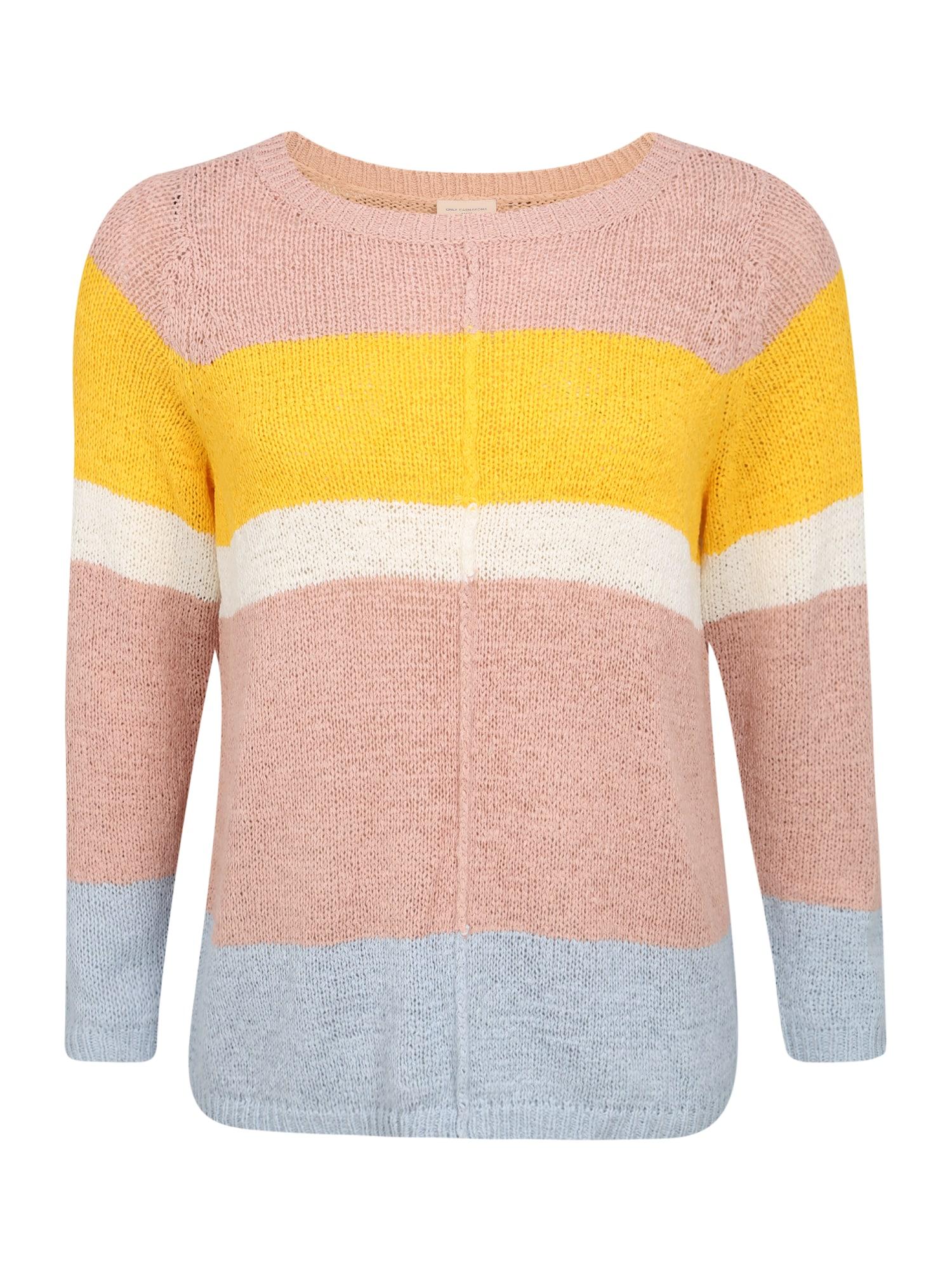 ONLY Carmakoma Megztinis 'CARMACY' ryškiai rožinė spalva / balta / šviesiai mėlyna / geltona