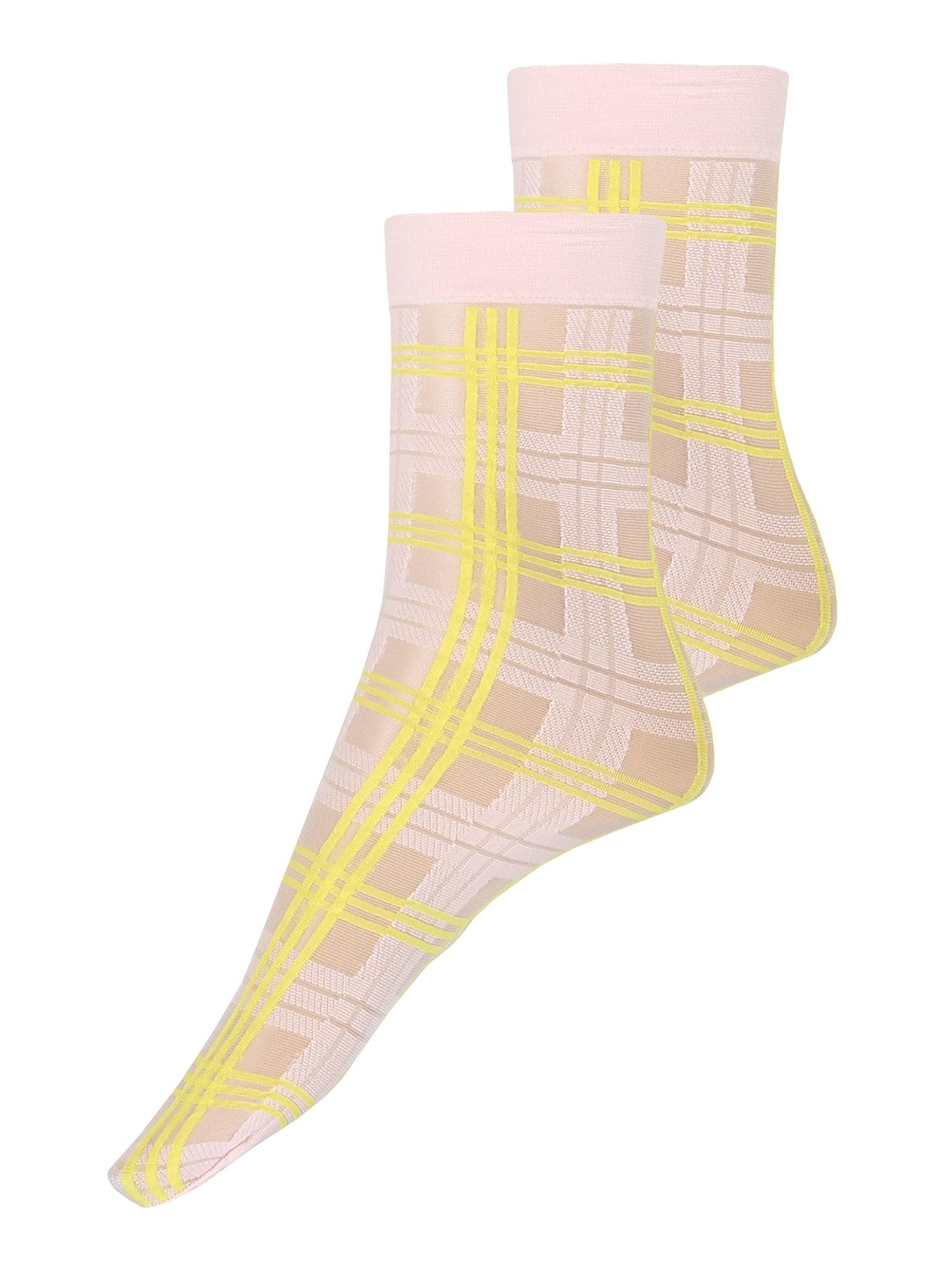 Swedish Stockings Kojinės 'Greta Tartan Socks Light Pink/Neon Yellow' neoninė geltona / rožinė