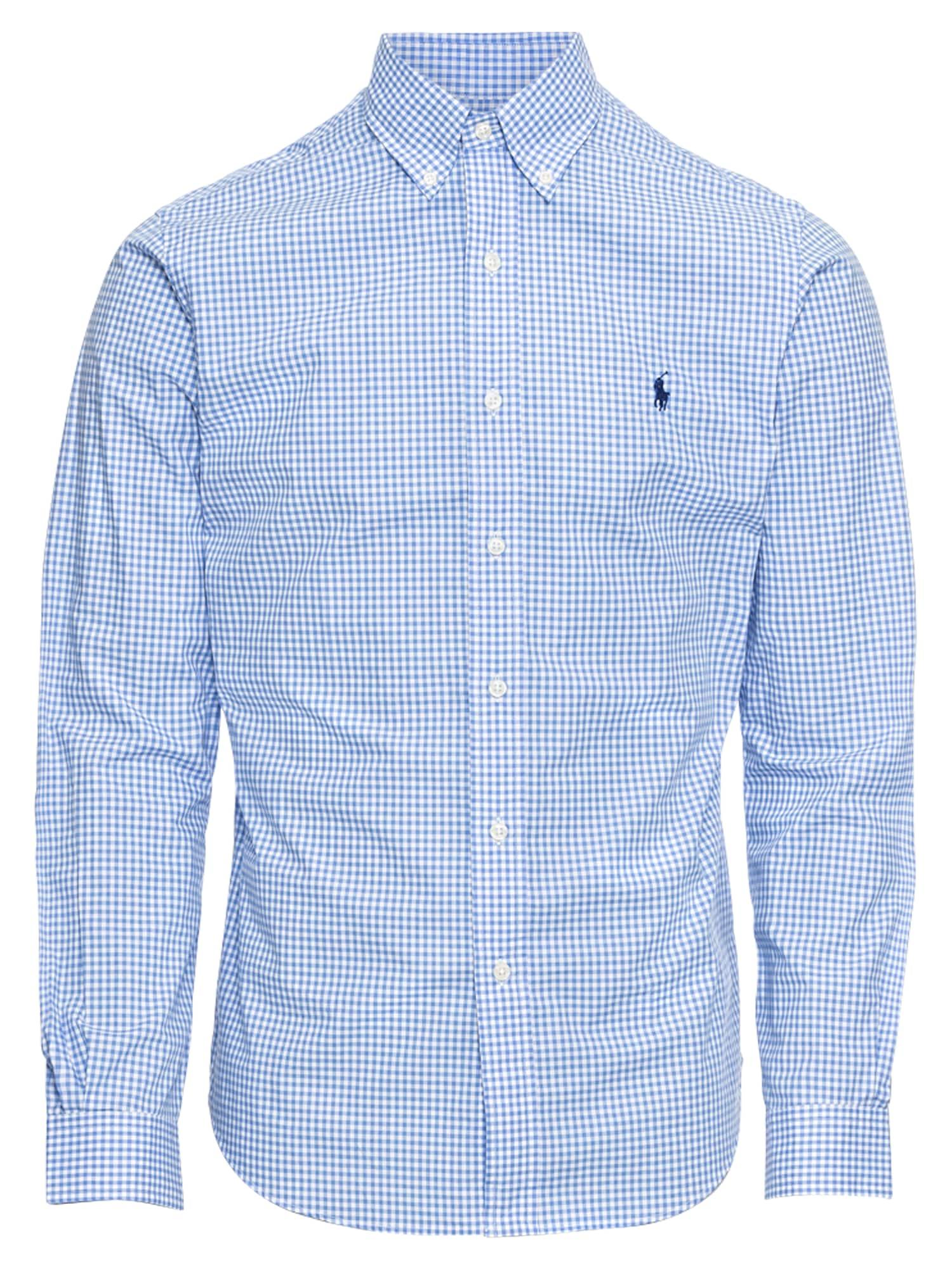 POLO RALPH LAUREN Dalykiniai marškiniai 'SL BD PPC SP-LONG SLEEVE-SPORT SHIRT' mėlyna / balta