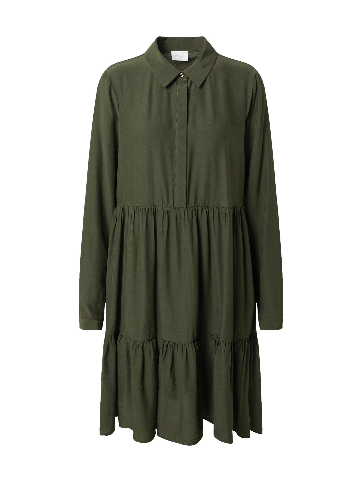 VILA Košilové šaty  tmavě zelená