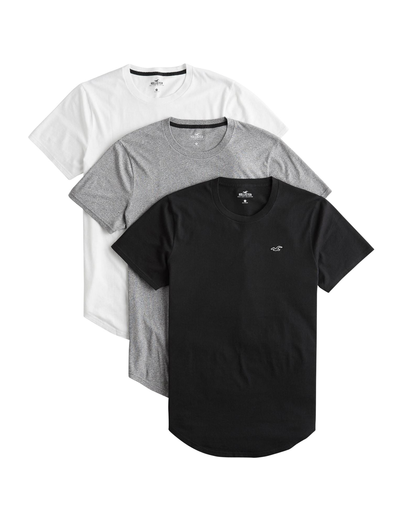 HOLLISTER Marškinėliai balta / pilka / juoda