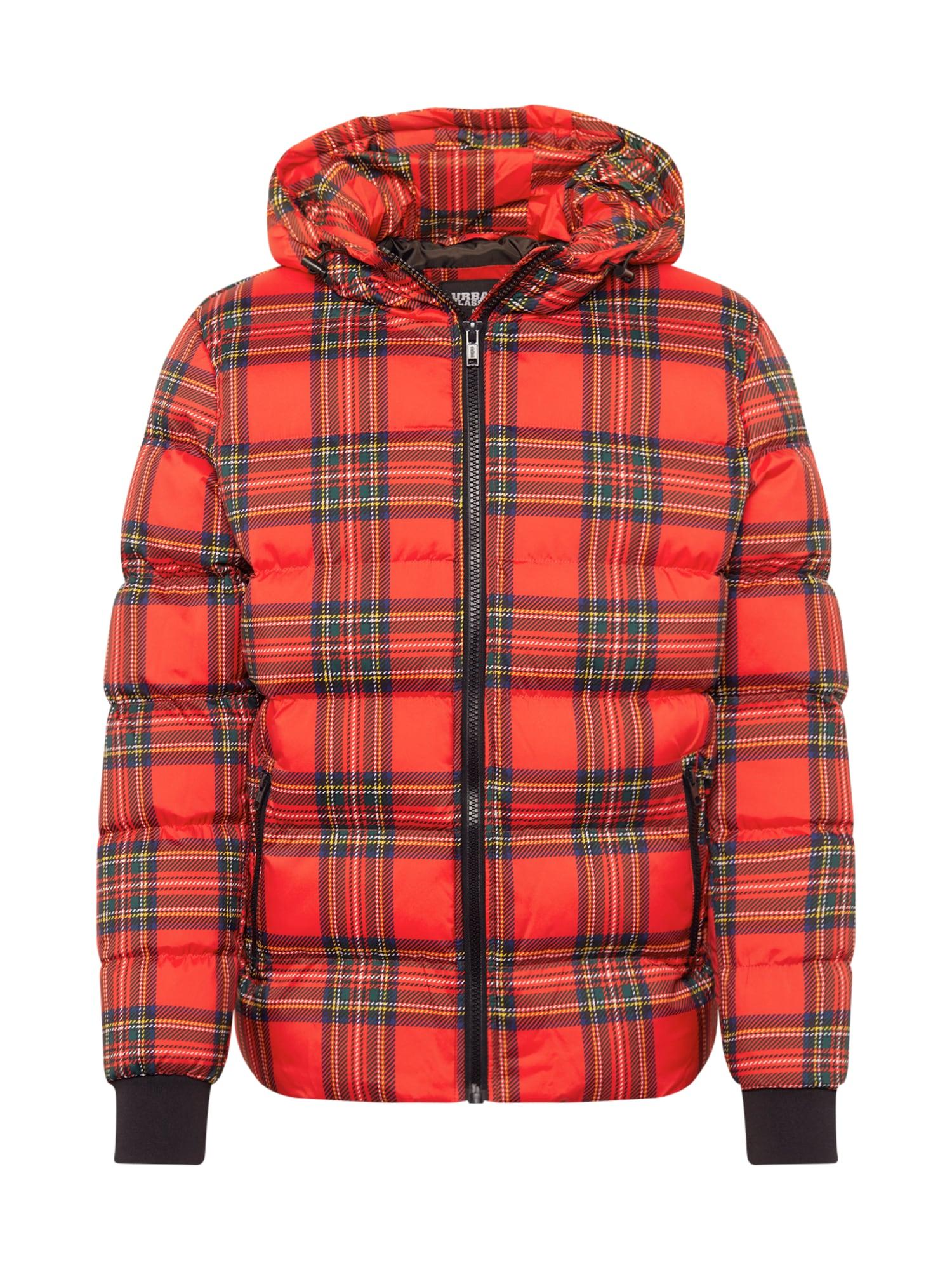 Urban Classics Žieminė striukė raudona / mišrios spalvos