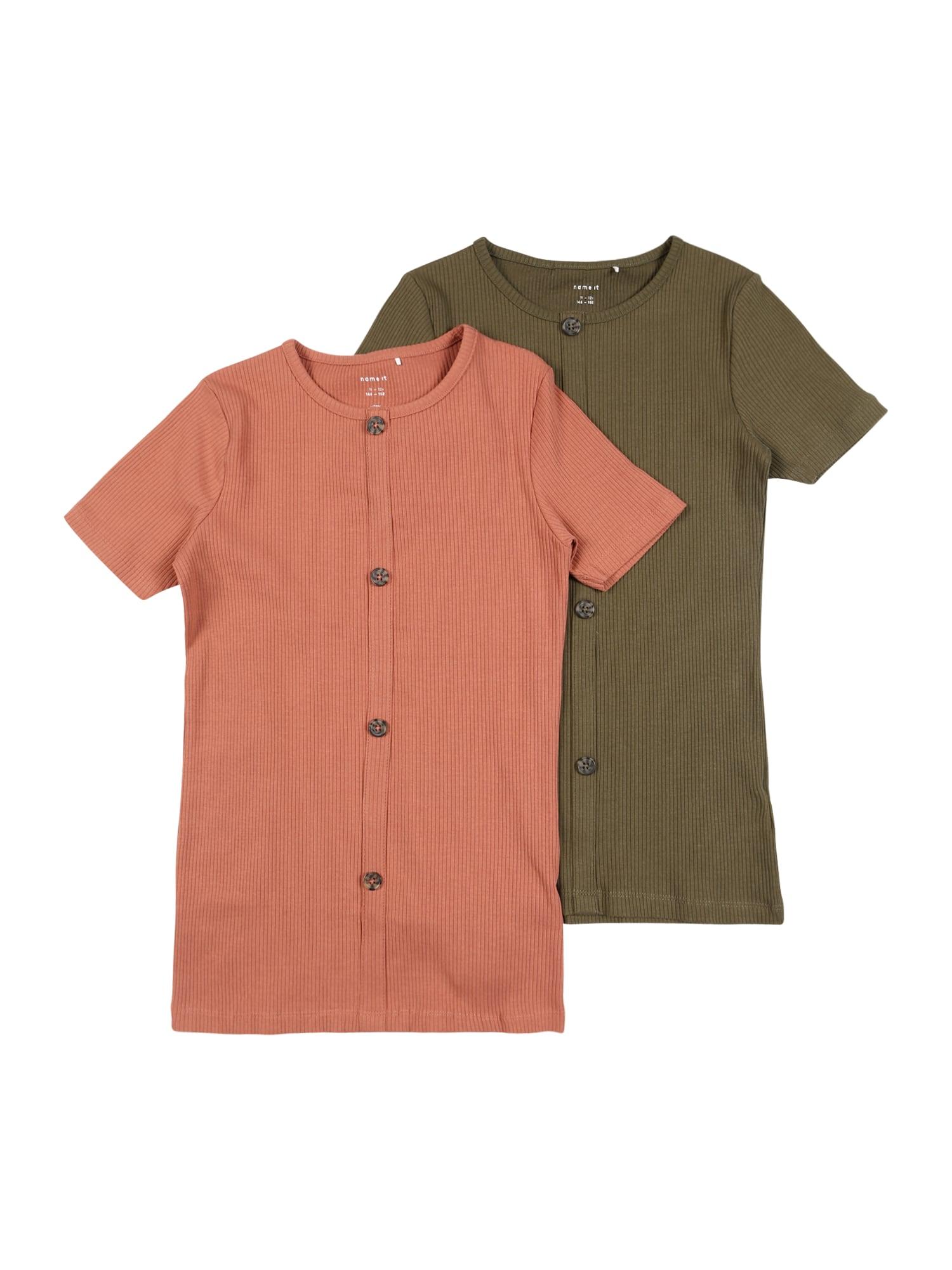 NAME IT Marškinėliai lašišų spalva / alyvuogių spalva