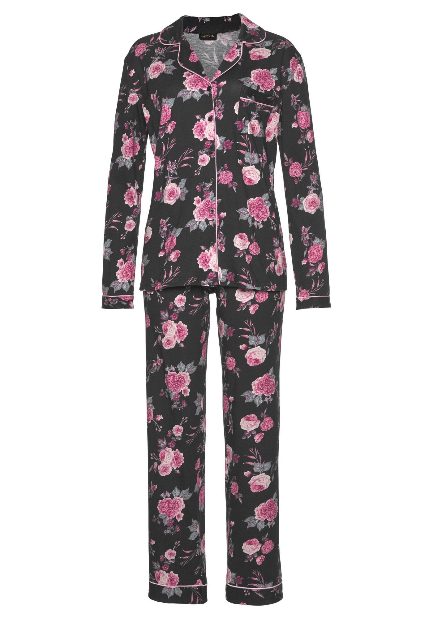 LASCANA Pižama ryškiai rožinė spalva / juoda