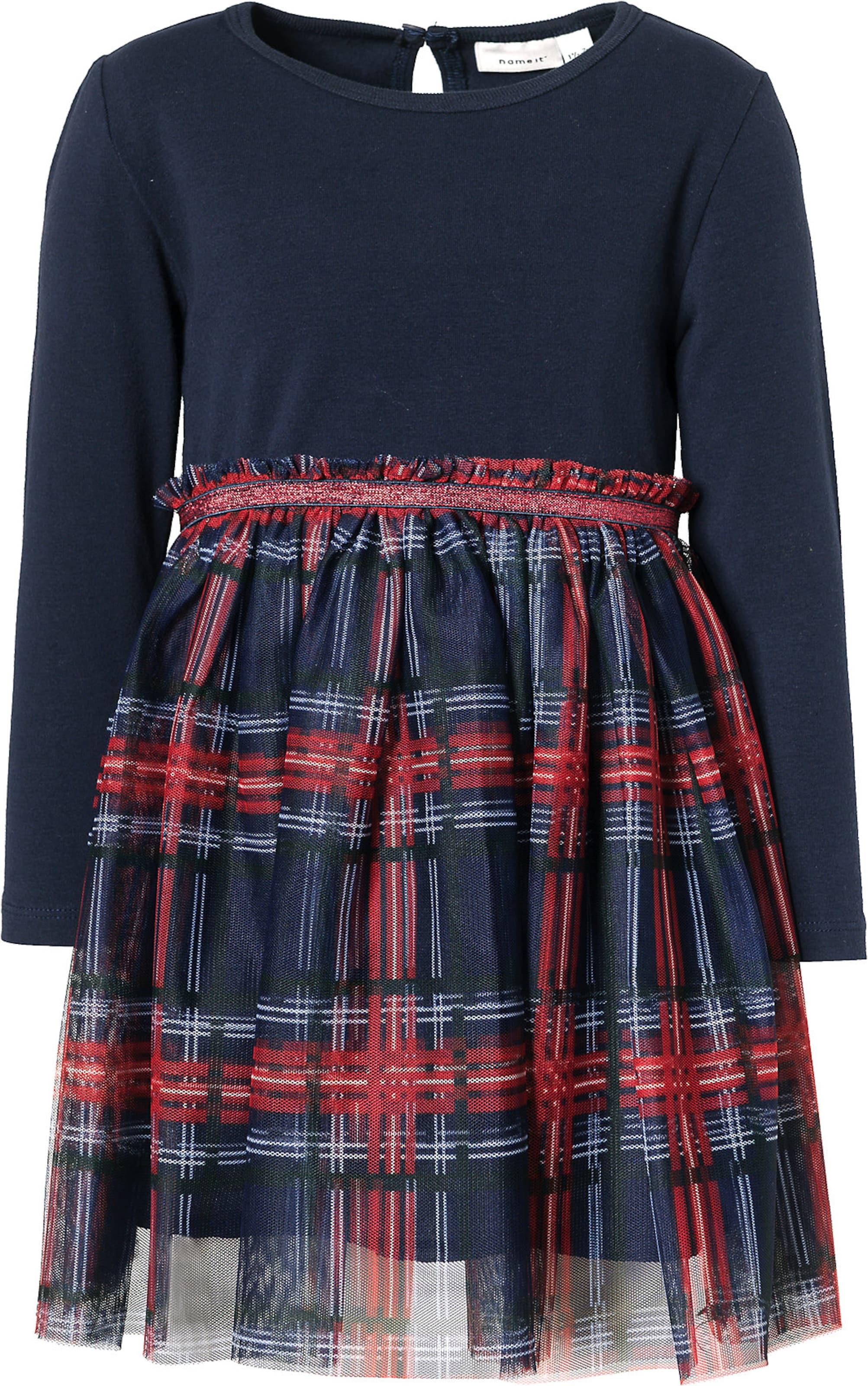 Kinder,  Mädchen,  Kinder NAME IT Kleid 'Frubia' anthrazit, blau, blau,  pink, braun, rot, schwarz, schwarz,  weiß | 05714489372101