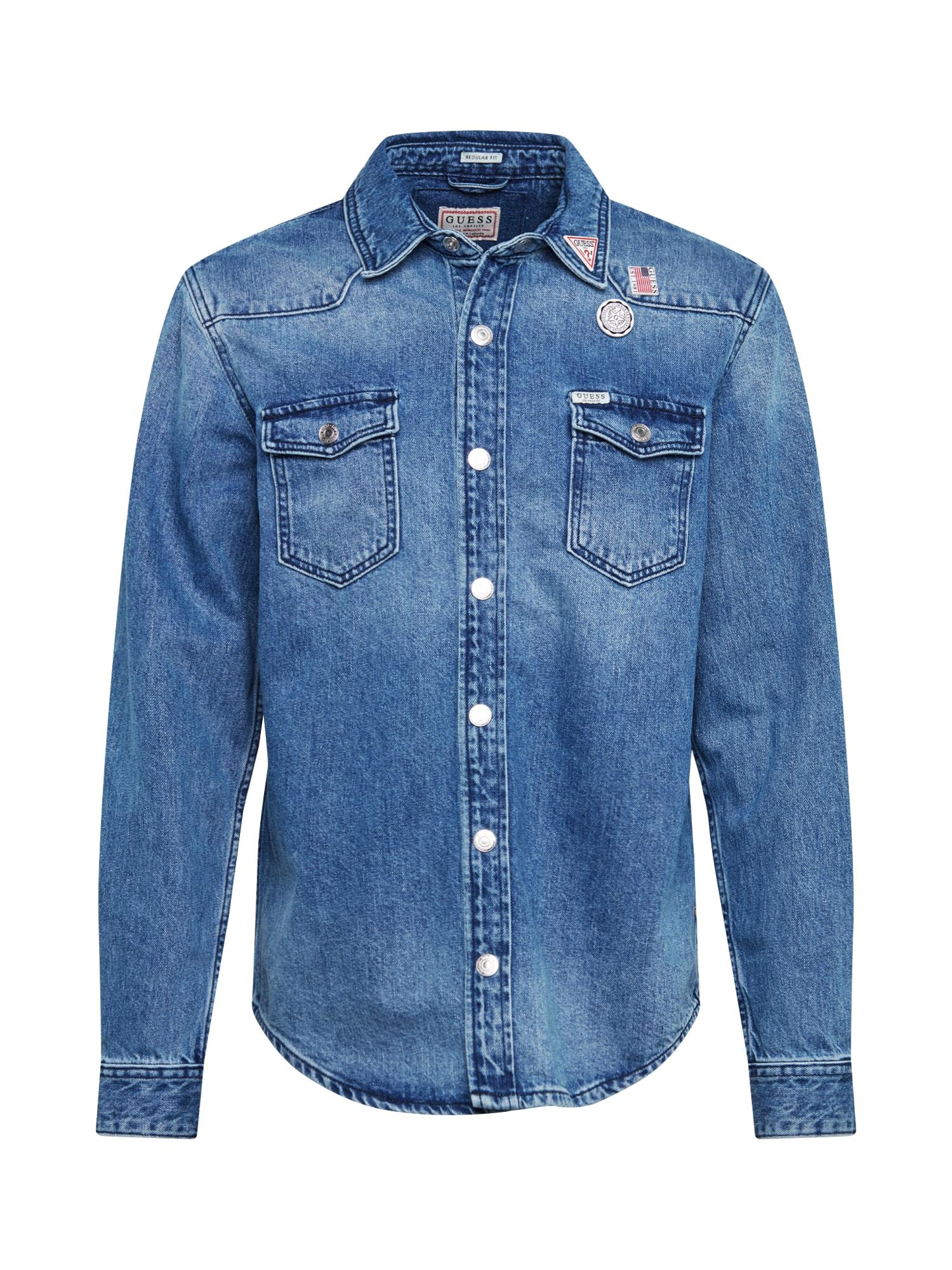 GUESS Dalykiniai marškiniai 'WEST' tamsiai (džinso) mėlyna