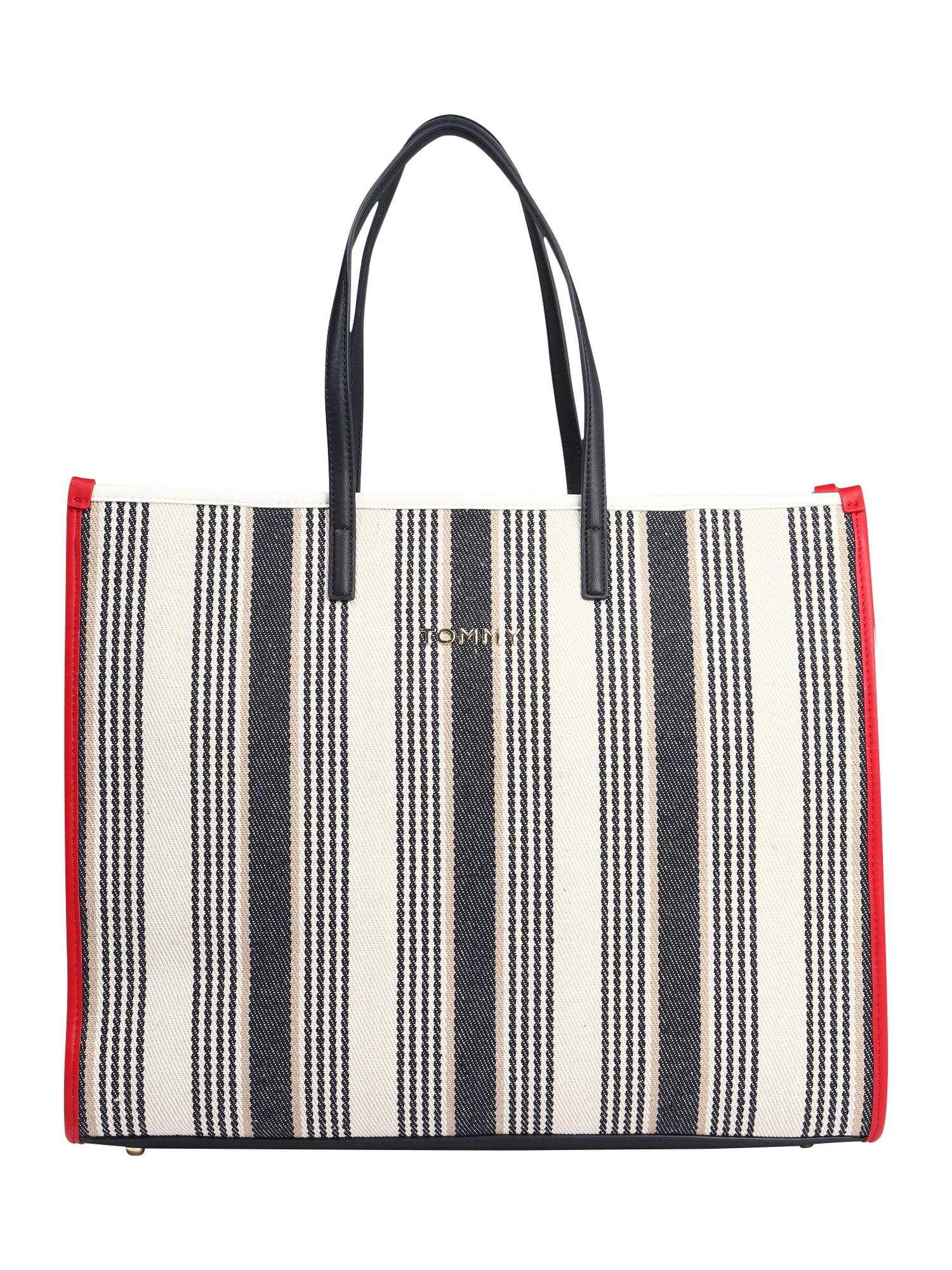 TOMMY HILFIGER Paplūdimio krepšys 'TOMMY BEACH BAG STRIPE' juoda / balta / raudona