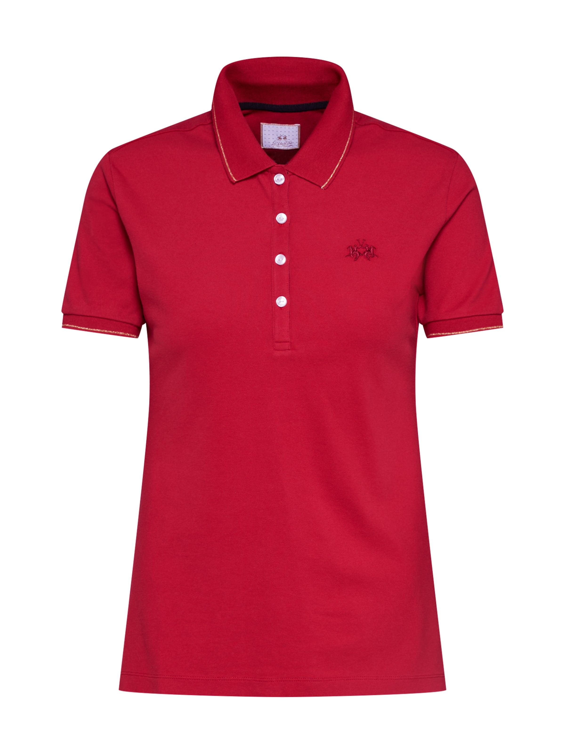 Damen La Martina Poloshirt 'WOMAN POLO S/S PIQUET STRETCH' rot | 07613314965250