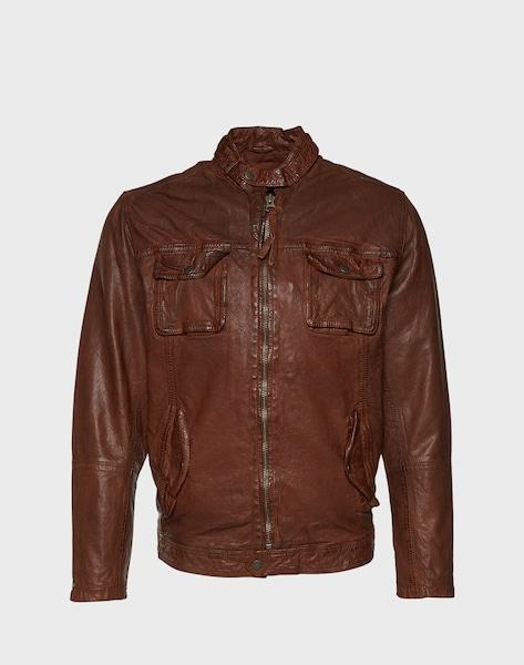 pepe jeans lederjacke mit rmelzippern 39 ryan 39 in cognac. Black Bedroom Furniture Sets. Home Design Ideas