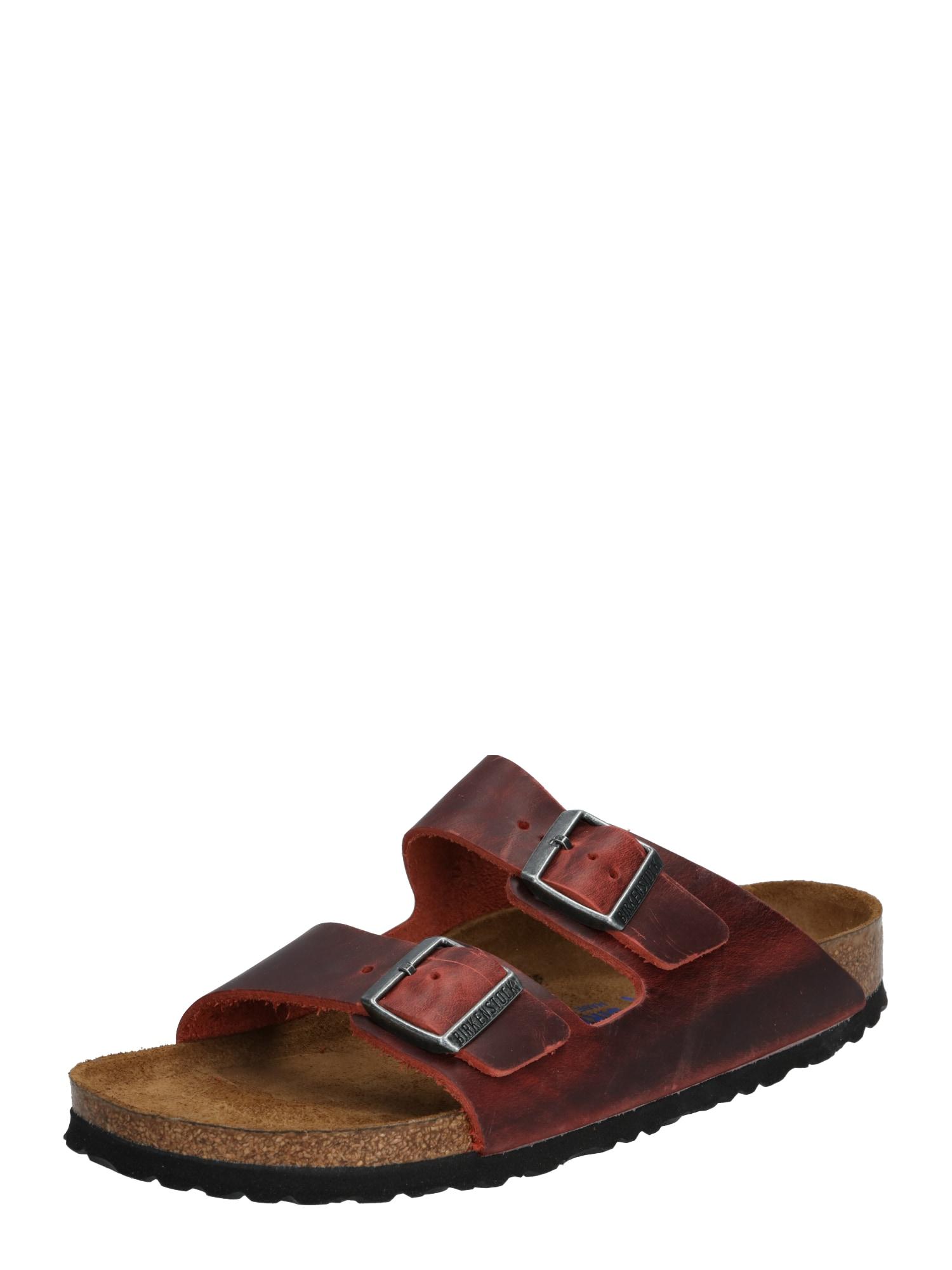 BIRKENSTOCK Šlepetės 'Arizona Oiled Leather' tamsiai ruda