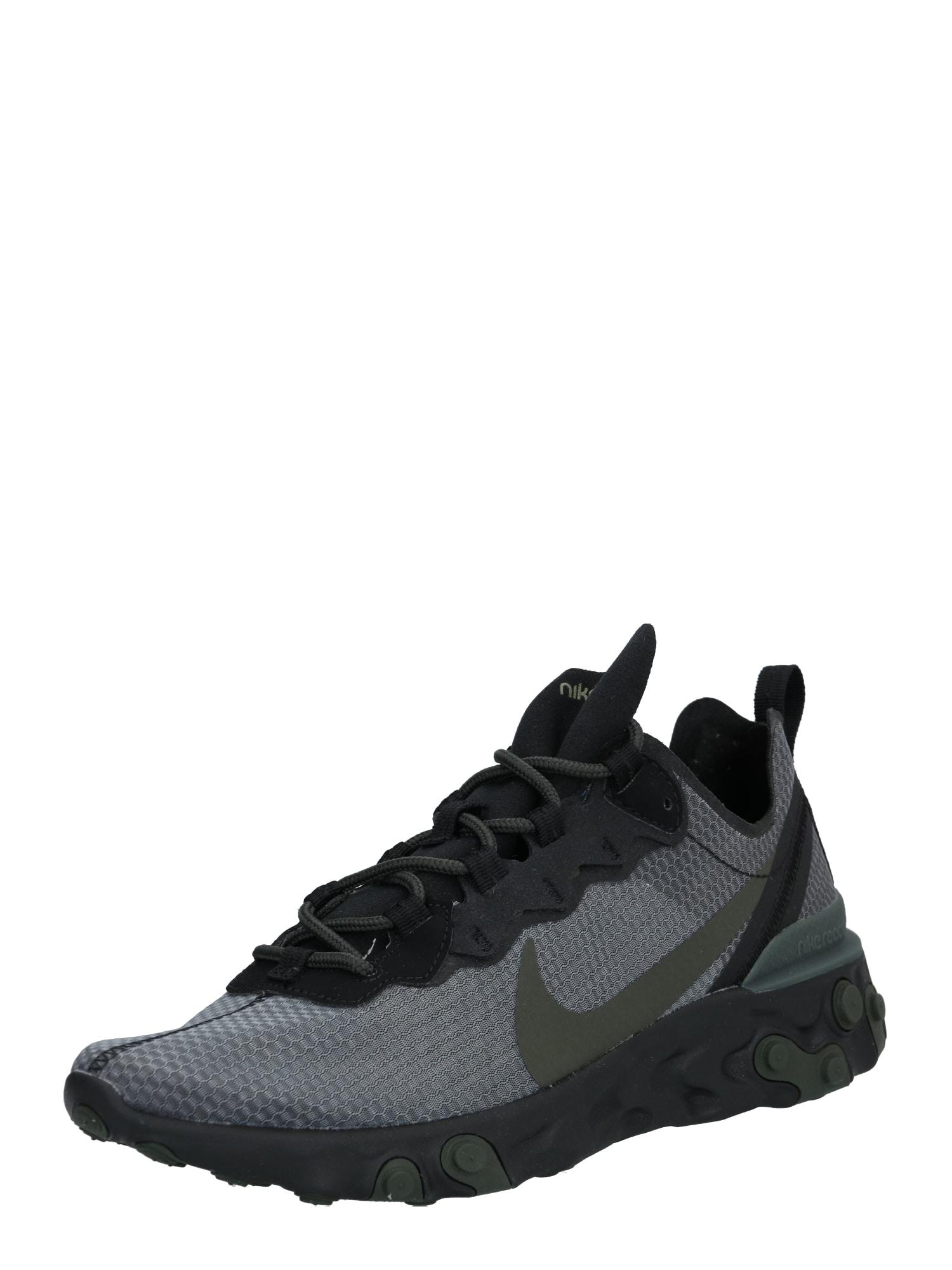 Nike Sportswear Sportbačiai be auliuko 'REACT ELEMENT 55' juoda / alyvuogių spalva