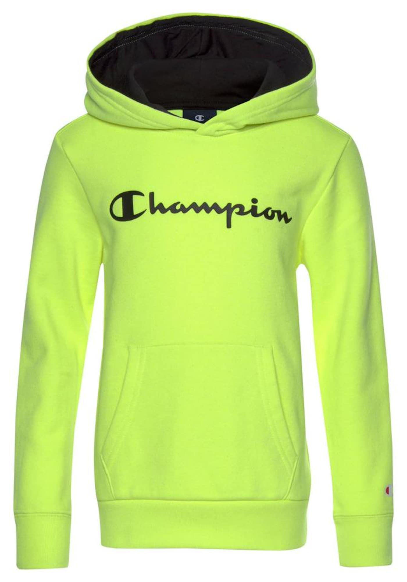 Champion Authentic Athletic Apparel Megztinis be užsegimo neoninė geltona / juoda