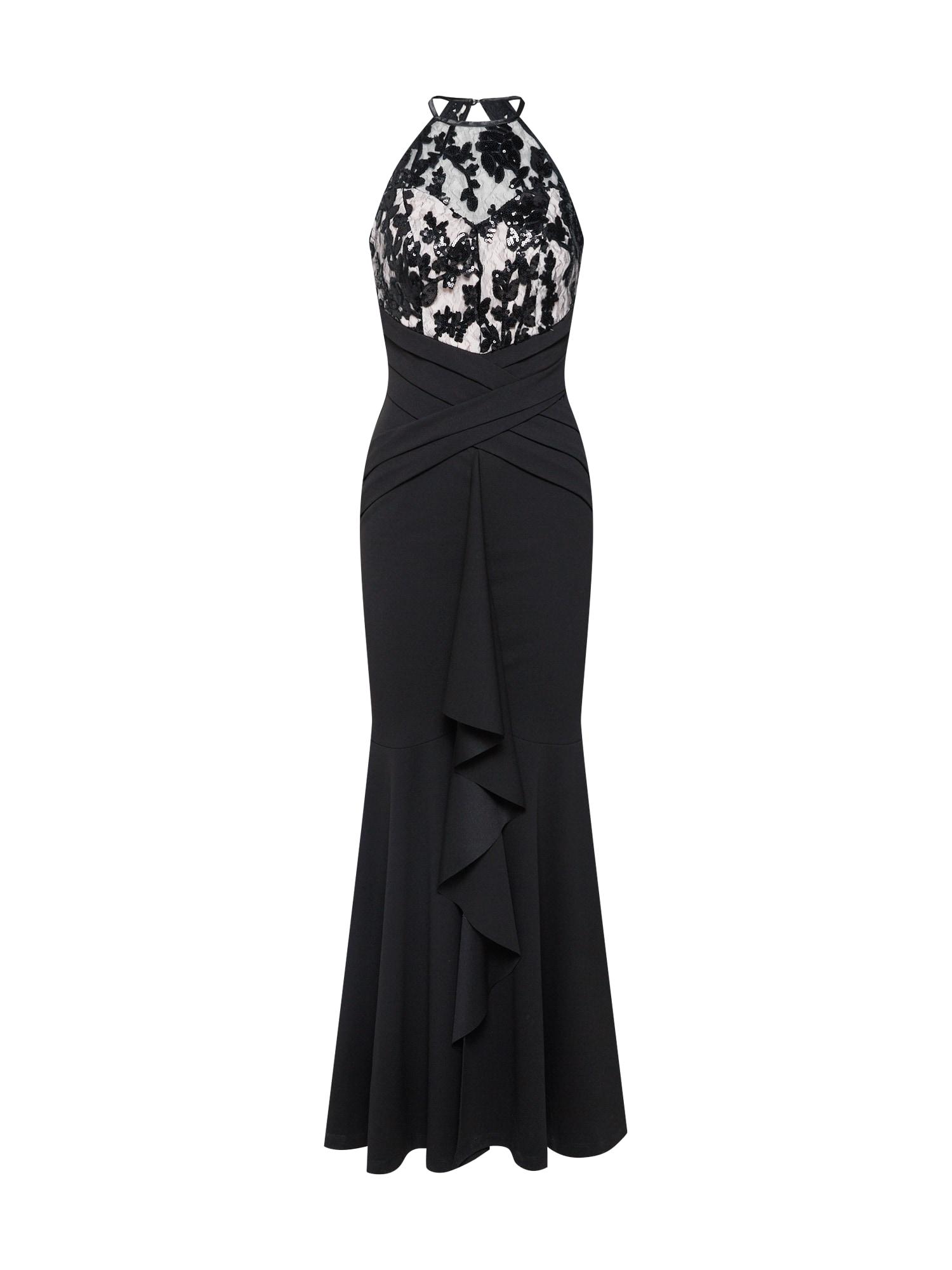 Společenské šaty BLACK SEQUIN BUILT UP MAXI světle šedá černá Lipsy