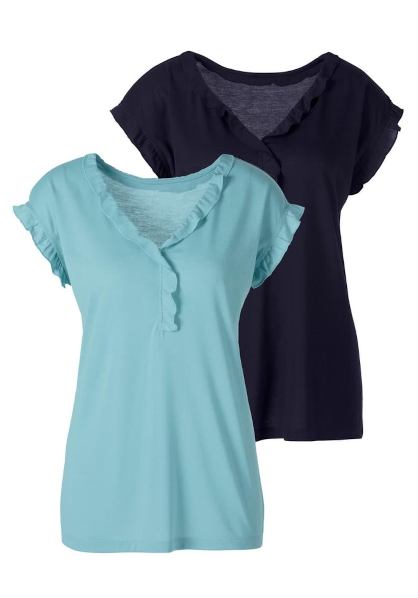 BEACH TIME Marškinėliai turkio spalva / tamsiai mėlyna
