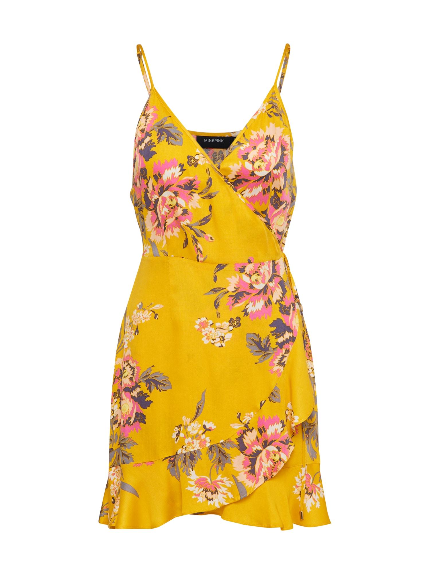 Letní šaty TOKYO WRAP DRESS žlutá MINKPINK
