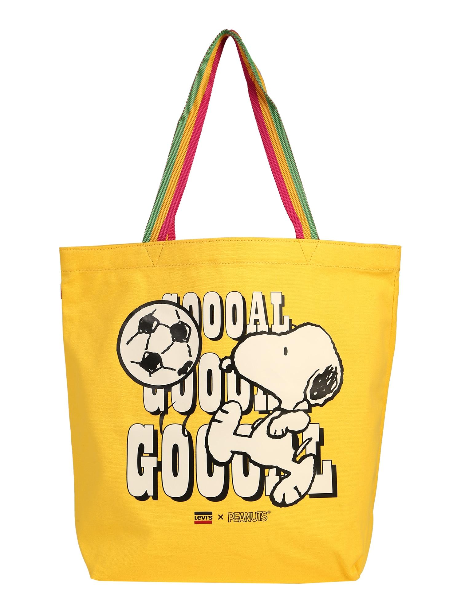 LEVI'S Nákupní taška 'Snoopy Sport Goal Tote'  bílá / žlutá