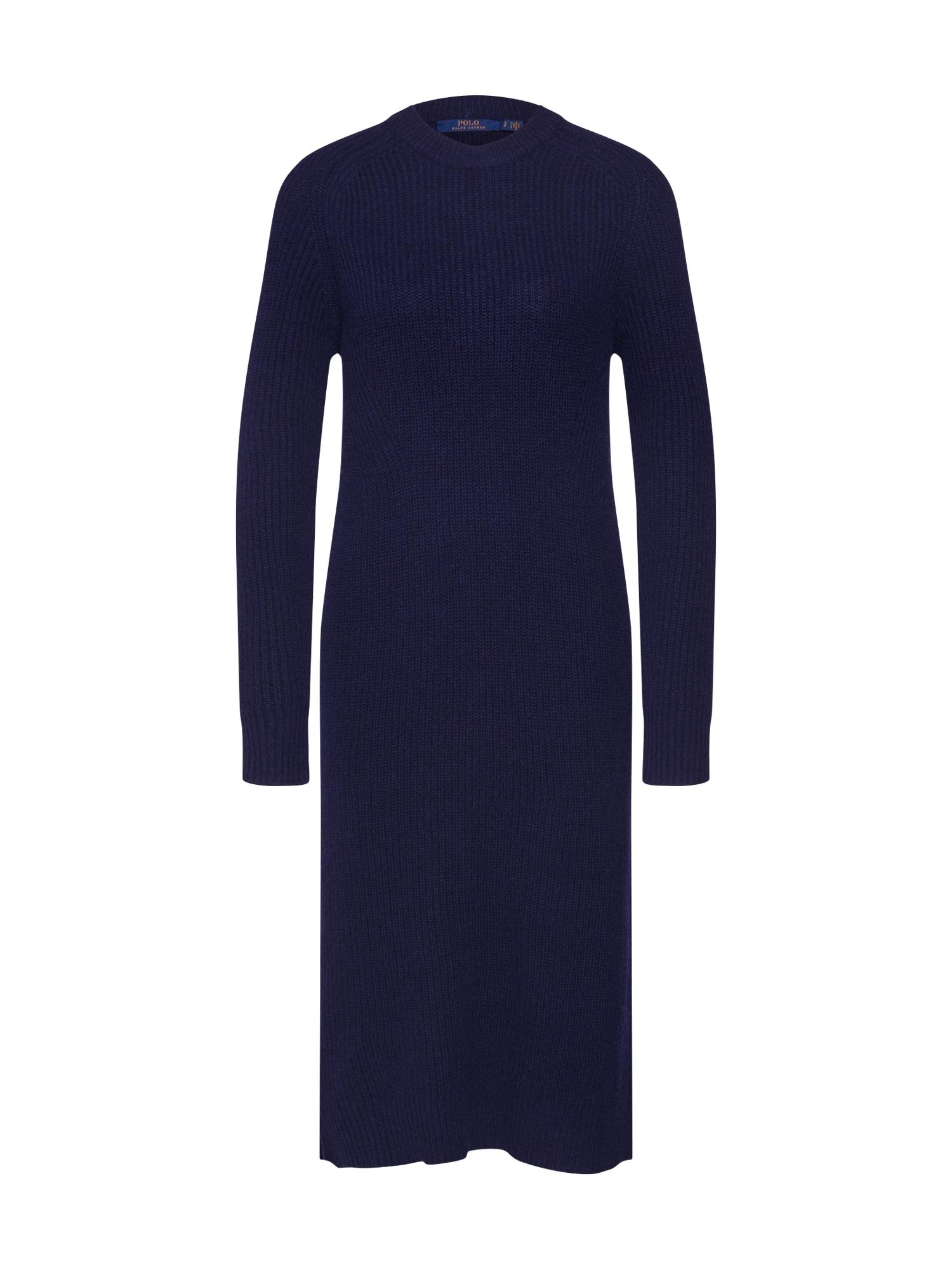 POLO RALPH LAUREN Megzta suknelė 'LS DRESS-LONG SLEEVE-CASUAL DRESS' tamsiai mėlyna