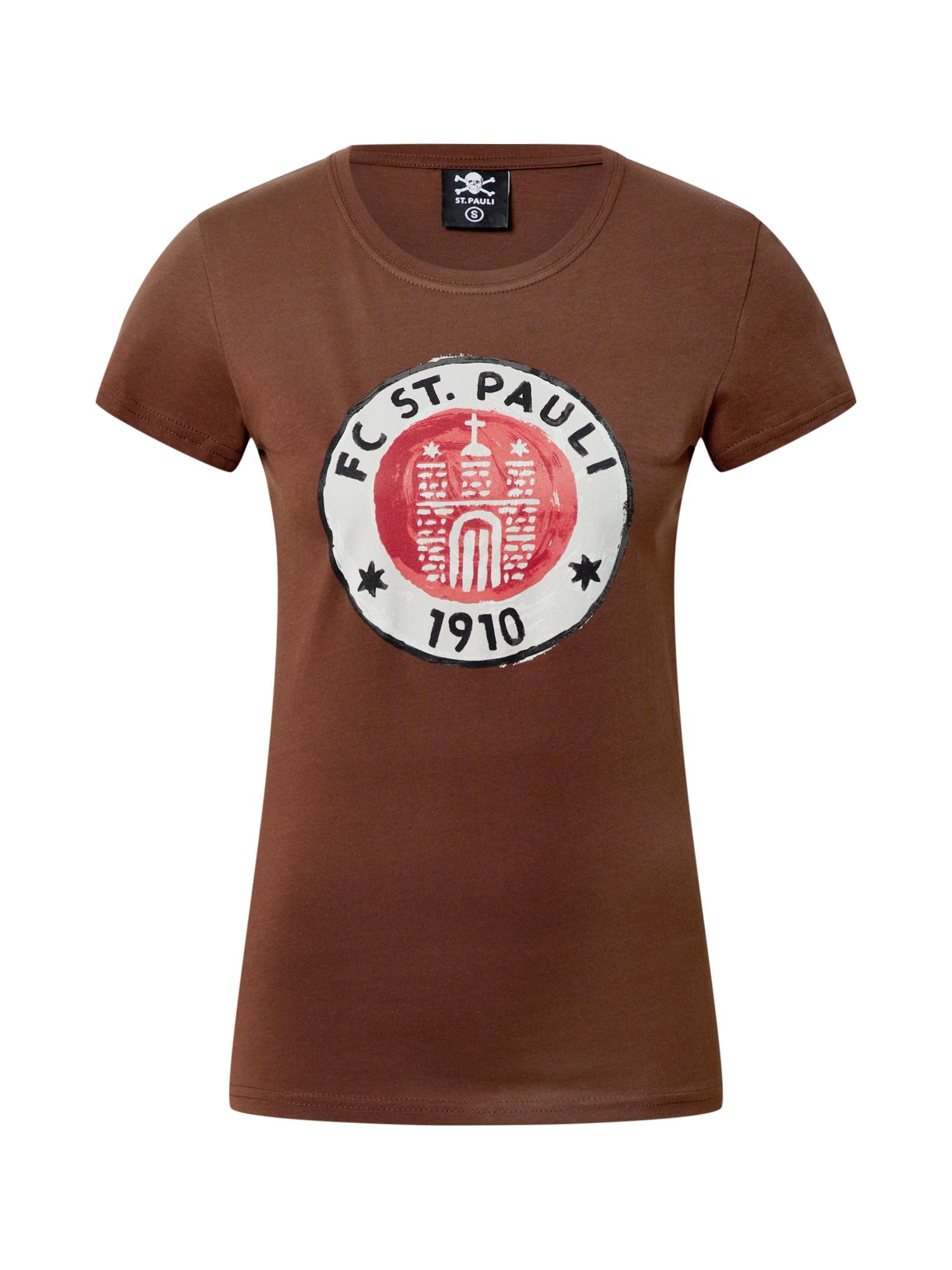 FC St. Pauli Marškinėliai raudona / ruda / balta