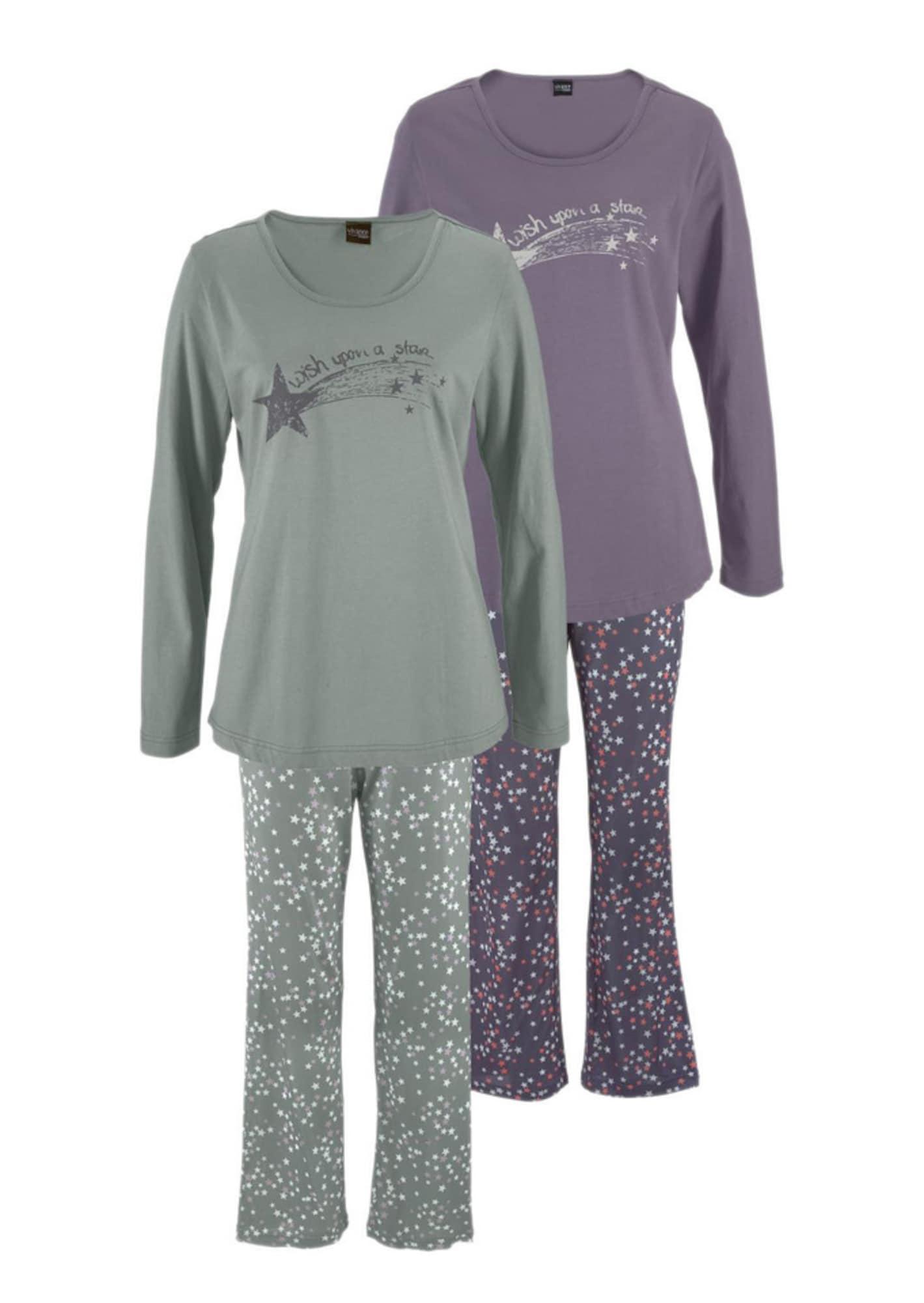 VIVANCE Pižama smaragdinė spalva / šviesiai violetinė