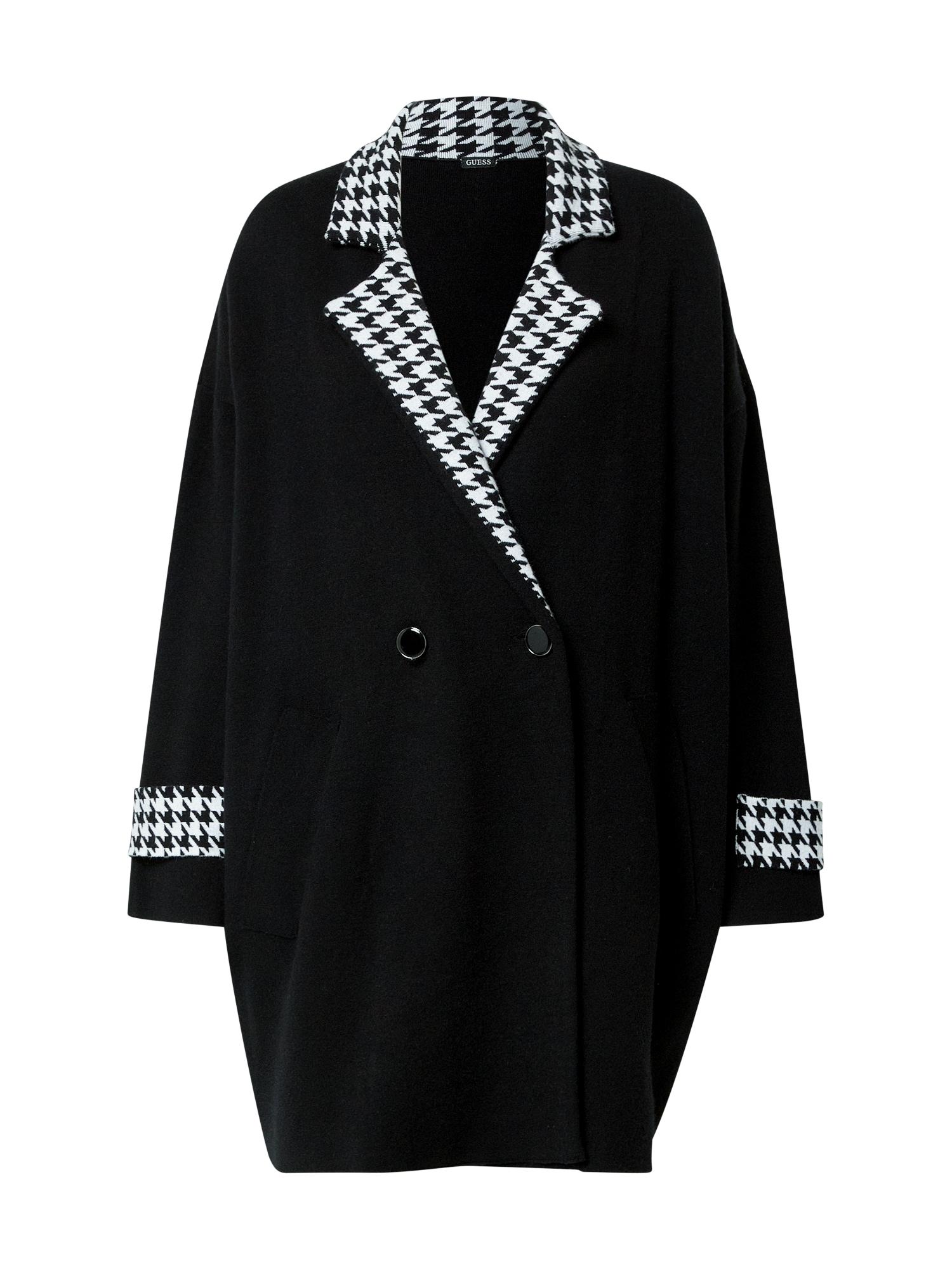 GUESS Demisezoninis paltas juoda / balta