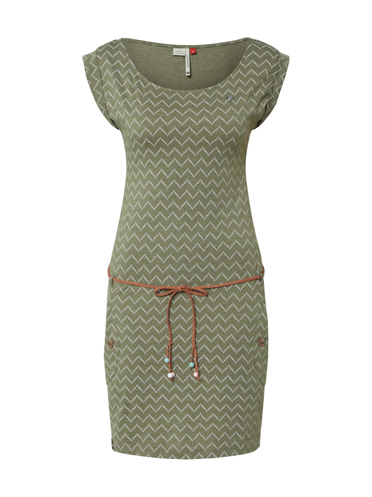 Ragwear Vasarinė suknelė 'TAG ZIG ZAG' alyvuogių spalva / tamsiai žalia / balkšva