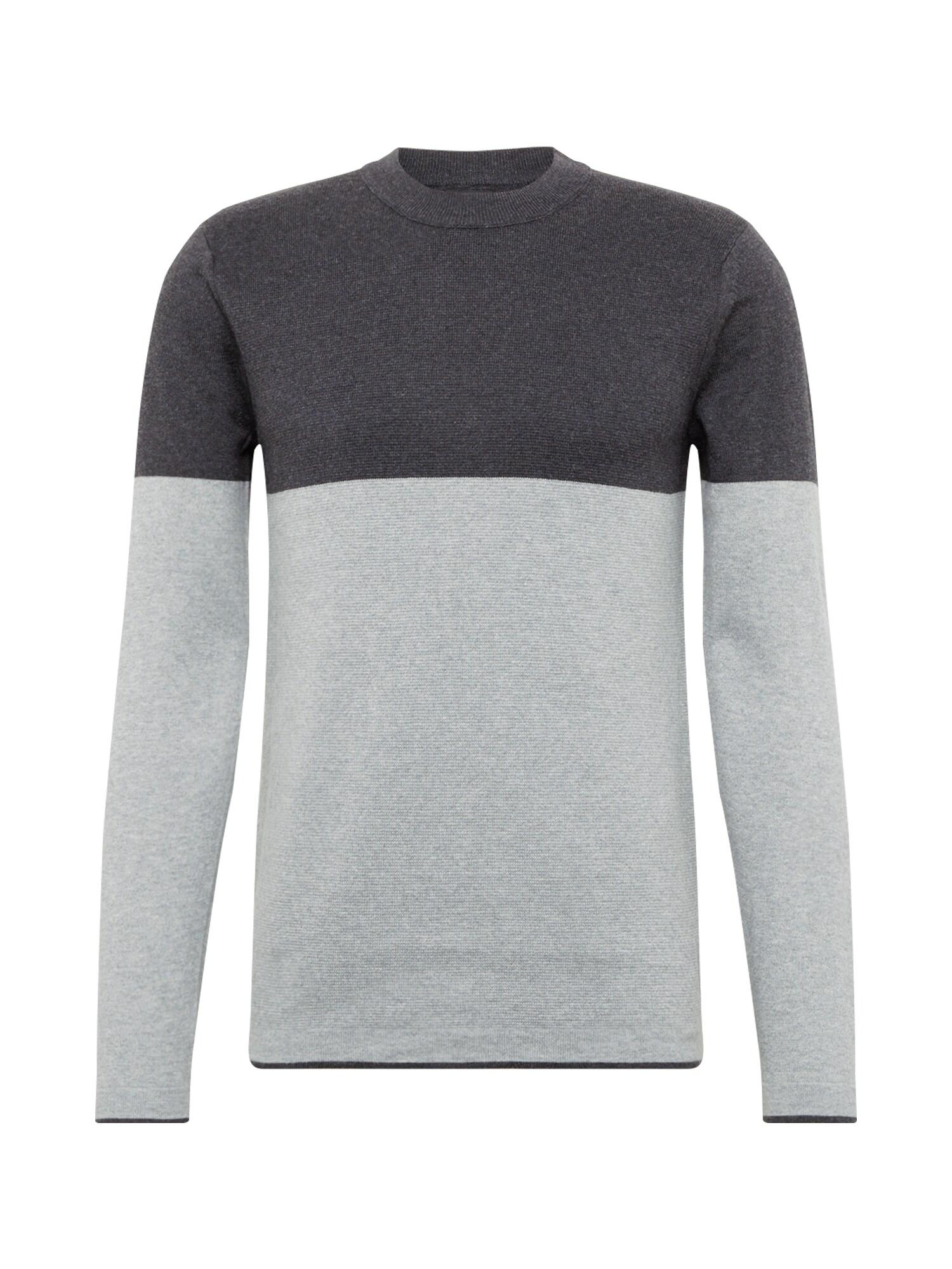 BURTON MENSWEAR LONDON Pulover 'tate colourblock charcoal grey'  gri