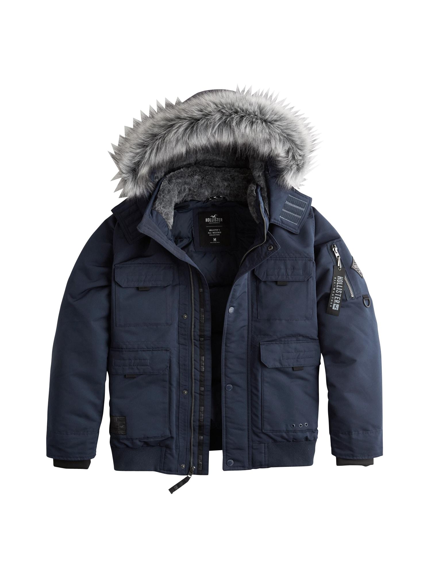 HOLLISTER Ilga žieminė striukė 'XM19-AW DOWN BOMBER NAVY 1CC' tamsiai mėlyna