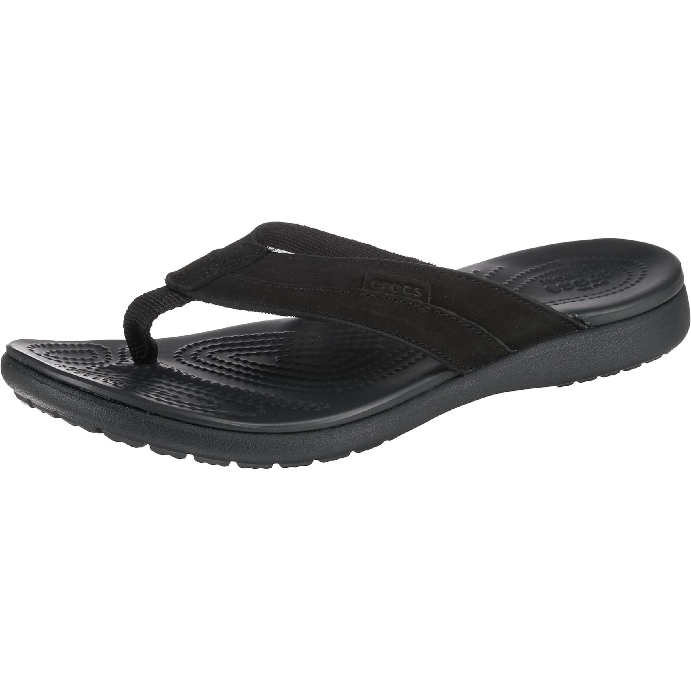Herren Crocs Zehentrenner 'Santa Cruz Leather Flip M Esp/Esp' schwarz | 00191448313798
