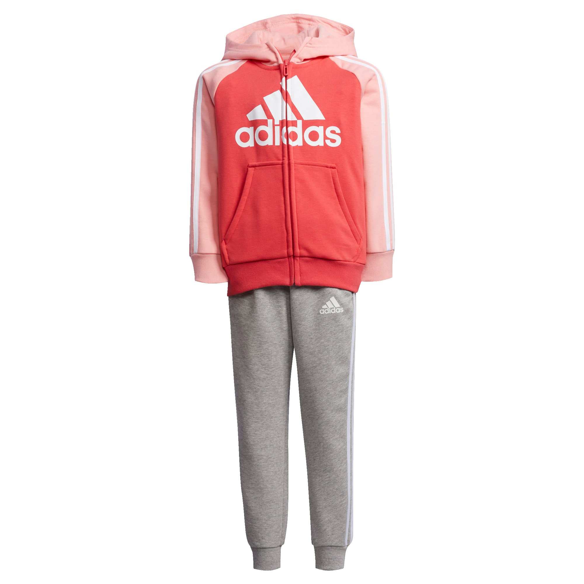 ADIDAS PERFORMANCE Sportinis kostiumas balta / margai pilka / rožių spalva / raudona