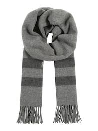 Damen Wollschal mit Fransen und Streifen grau | 03615732914098