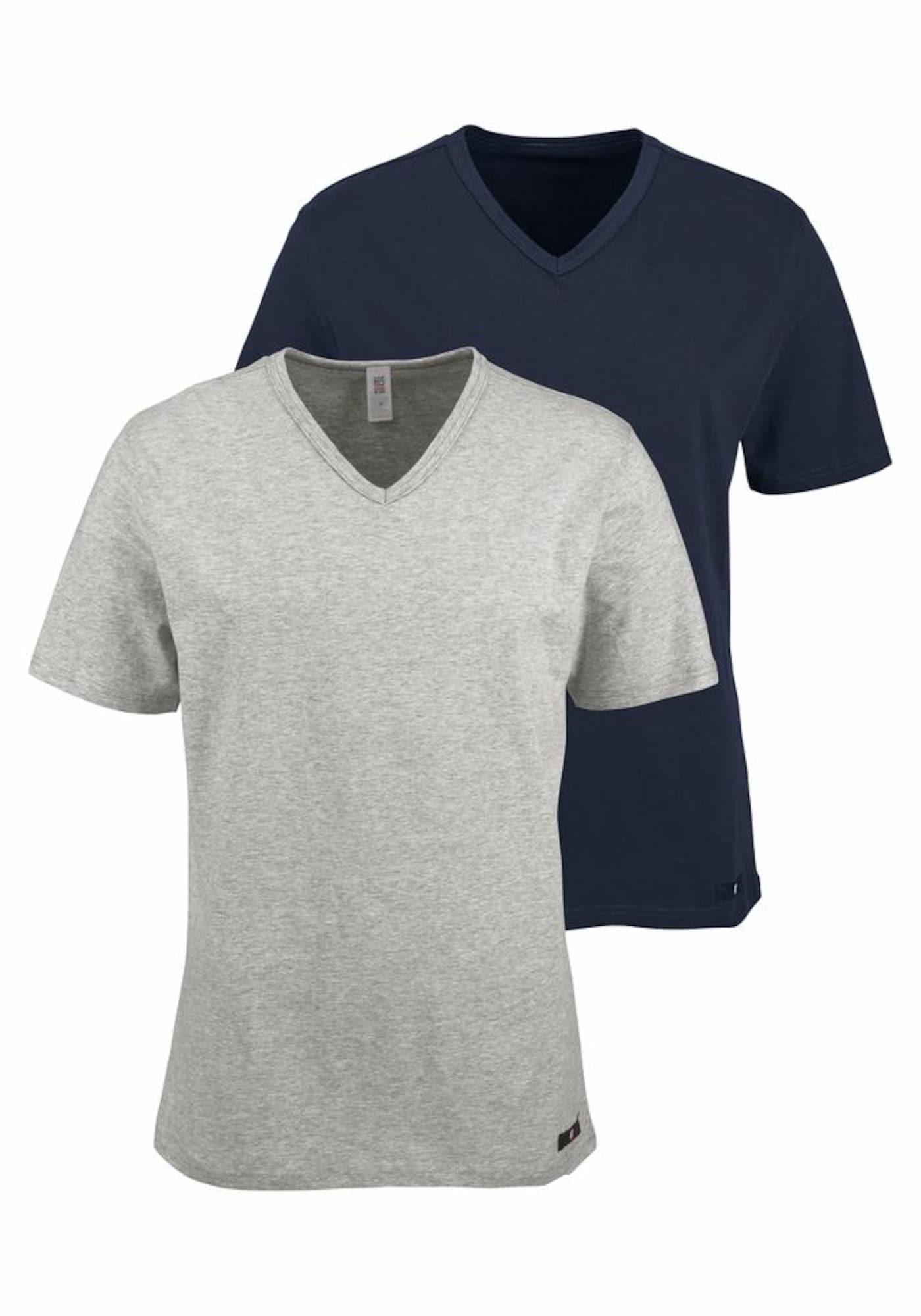 H.I.S Marškinėliai tamsiai mėlyna jūros spalva / margai pilka