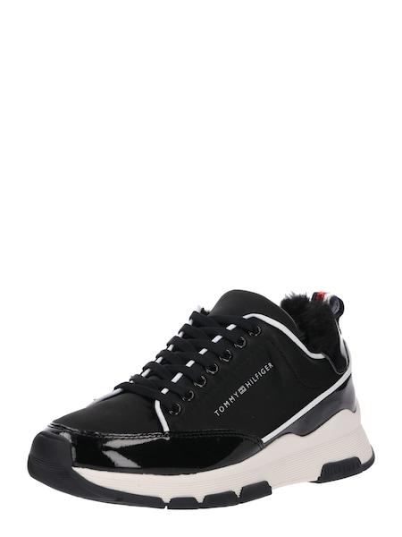Sneakers für Frauen - TOMMY HILFIGER Sneaker 'SATIN' schwarz offwhite  - Onlineshop ABOUT YOU