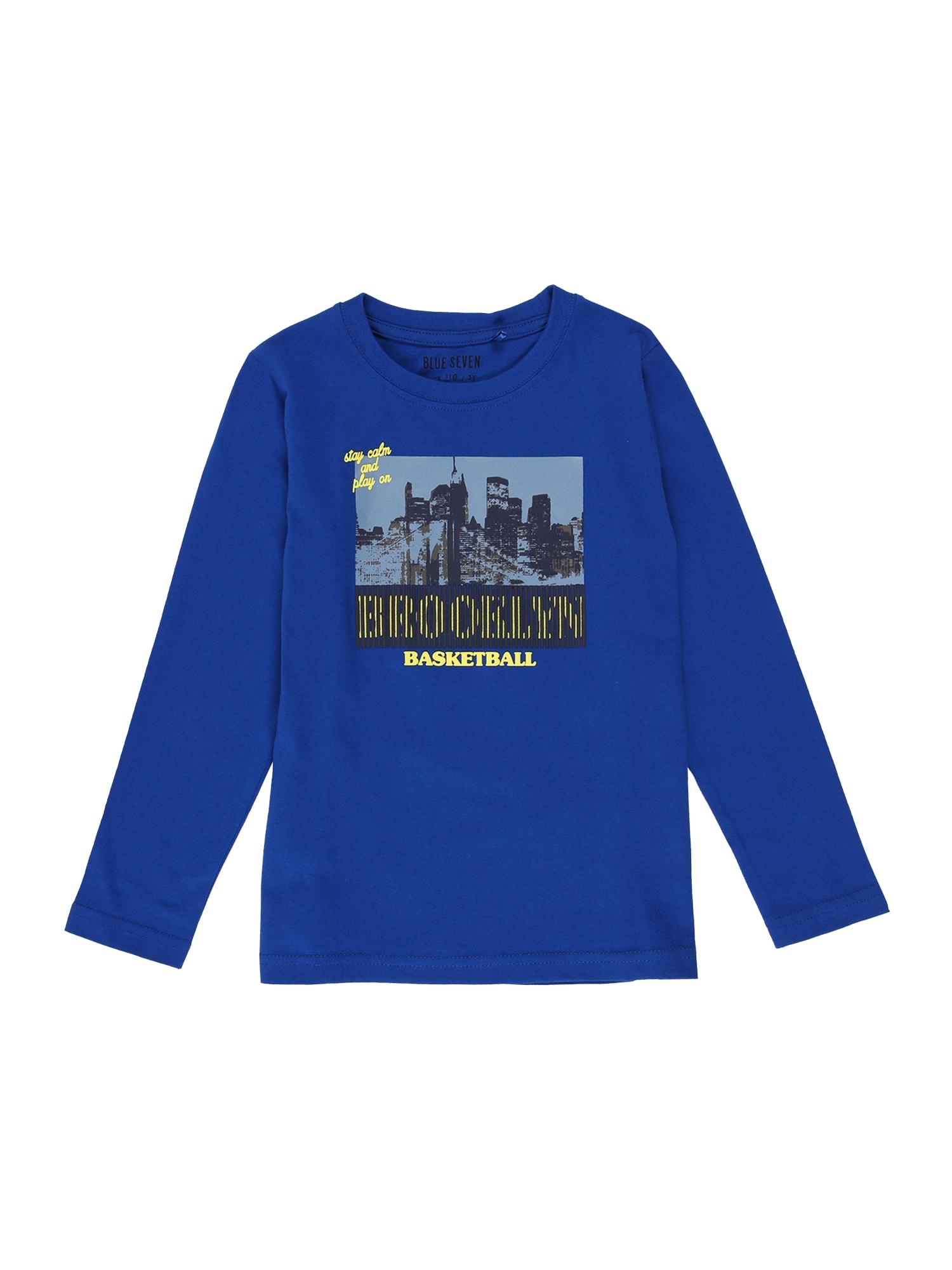 BLUE SEVEN Marškinėliai melsvai pilka / tamsiai mėlyna / rusvai žalia / geltona / juoda / margai juoda
