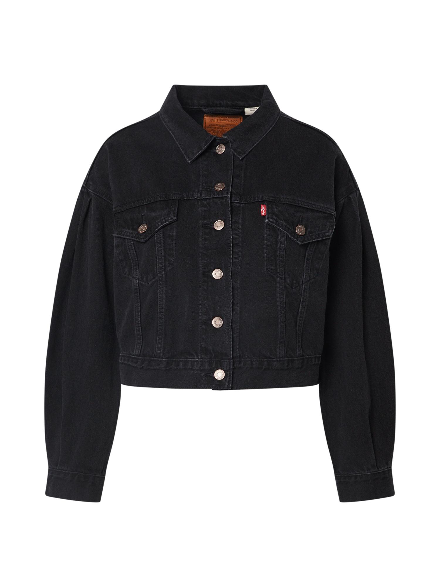LEVI'S Demisezoninė striukė 'PLEAT SLEEVE TRUCKER' juodo džinso spalva