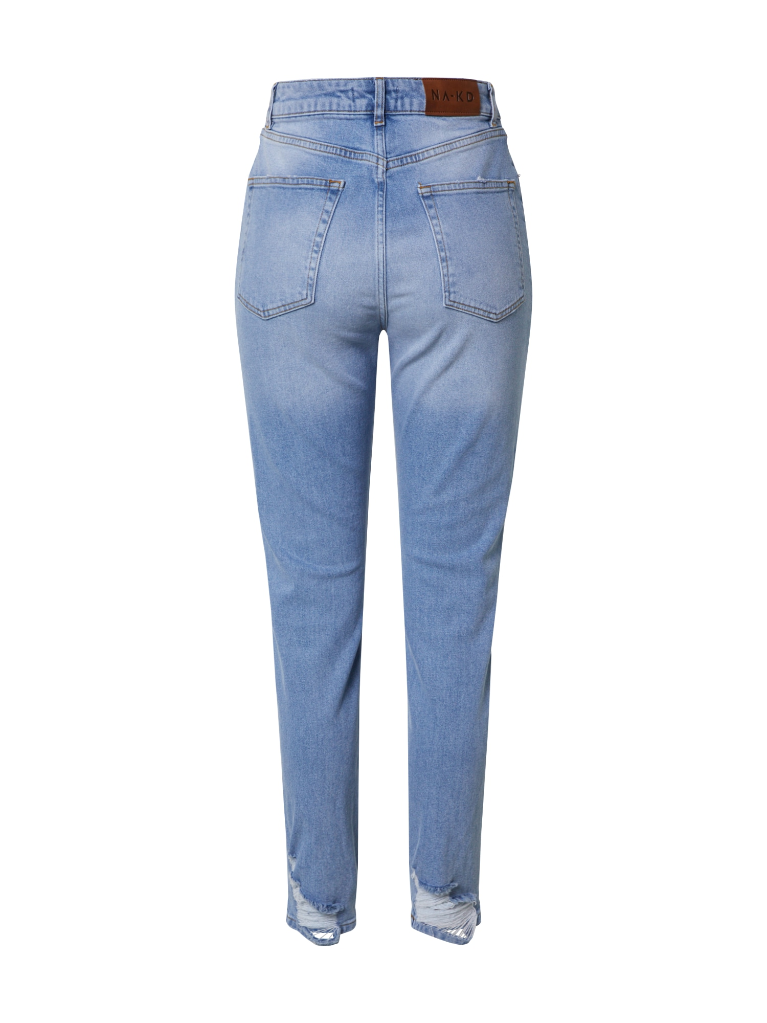 NA-KD Jeans 'distressed hem mom jeans'  blå denim