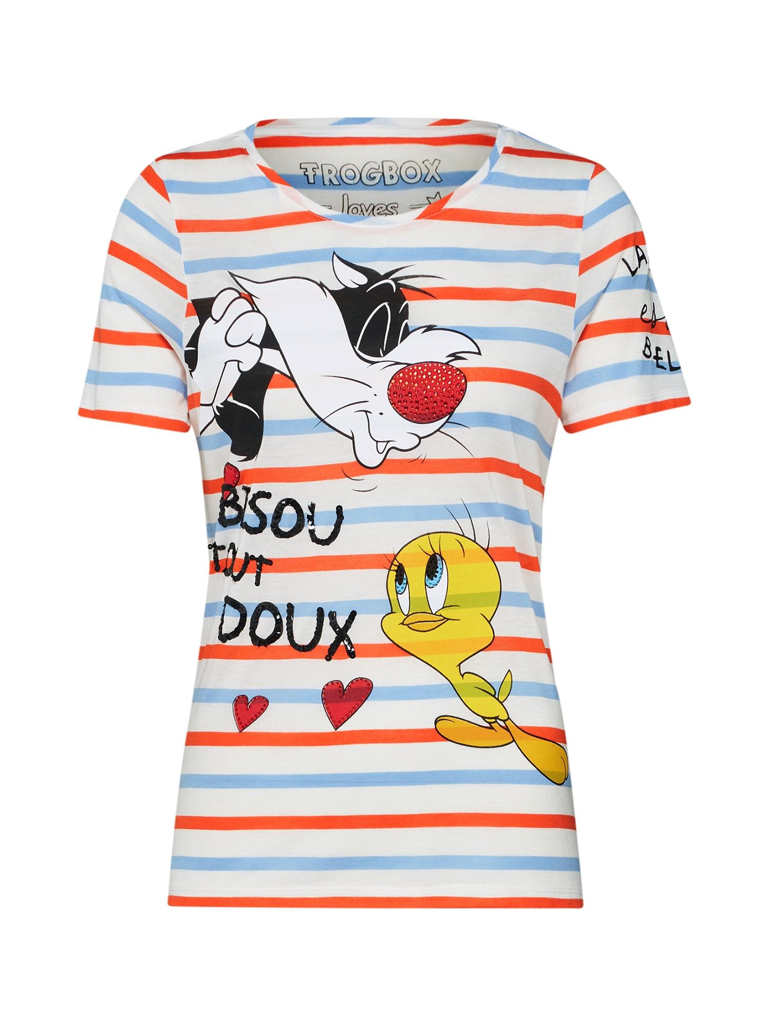 Tričko Shirt Tweety and Sylvester béžová královská modrá červená bílá Frogbox