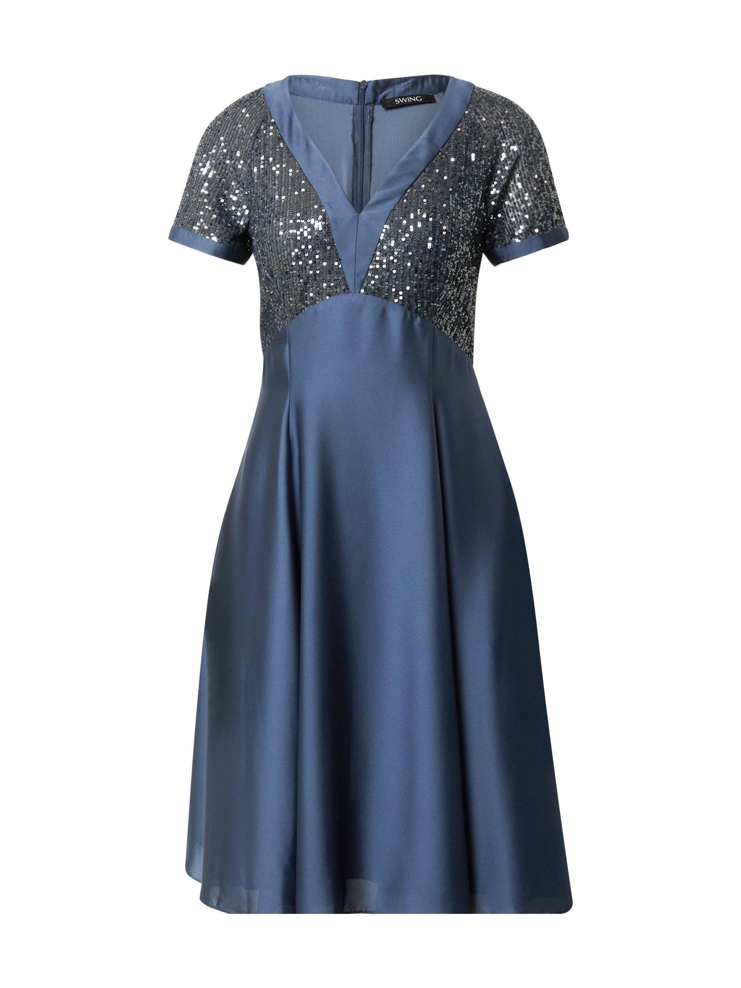 SWING Kokteilinė suknelė sidabro pilka / indigo spalva