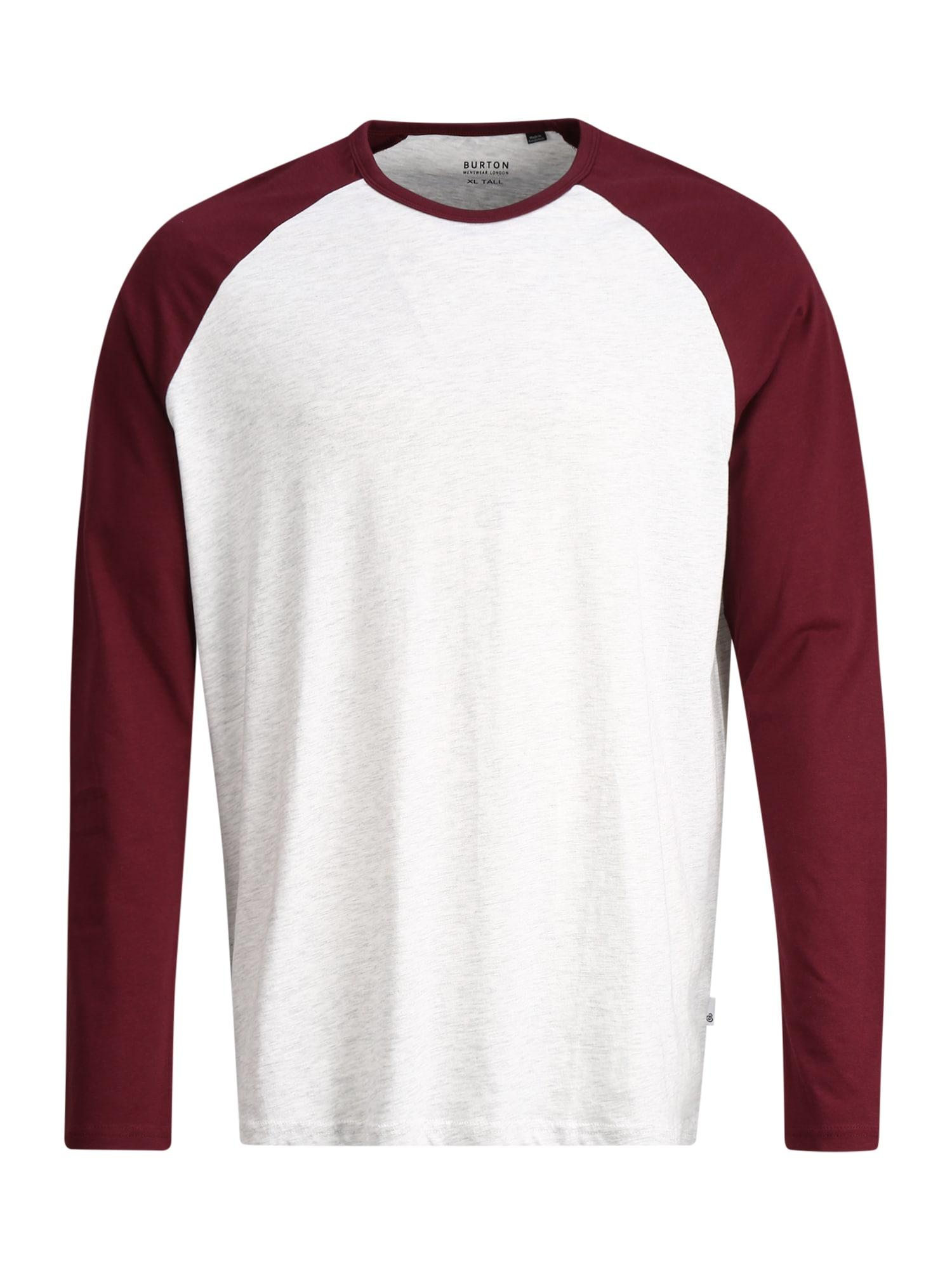 BURTON MENSWEAR LONDON (Big & Tall) Marškinėliai margai pilka / burgundiško vyno spalva / šviesiai pilka