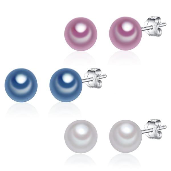 Ohrringe für Frauen - Valero Pearls 3er Set Ohrstecker blau orchidee silber  - Onlineshop ABOUT YOU